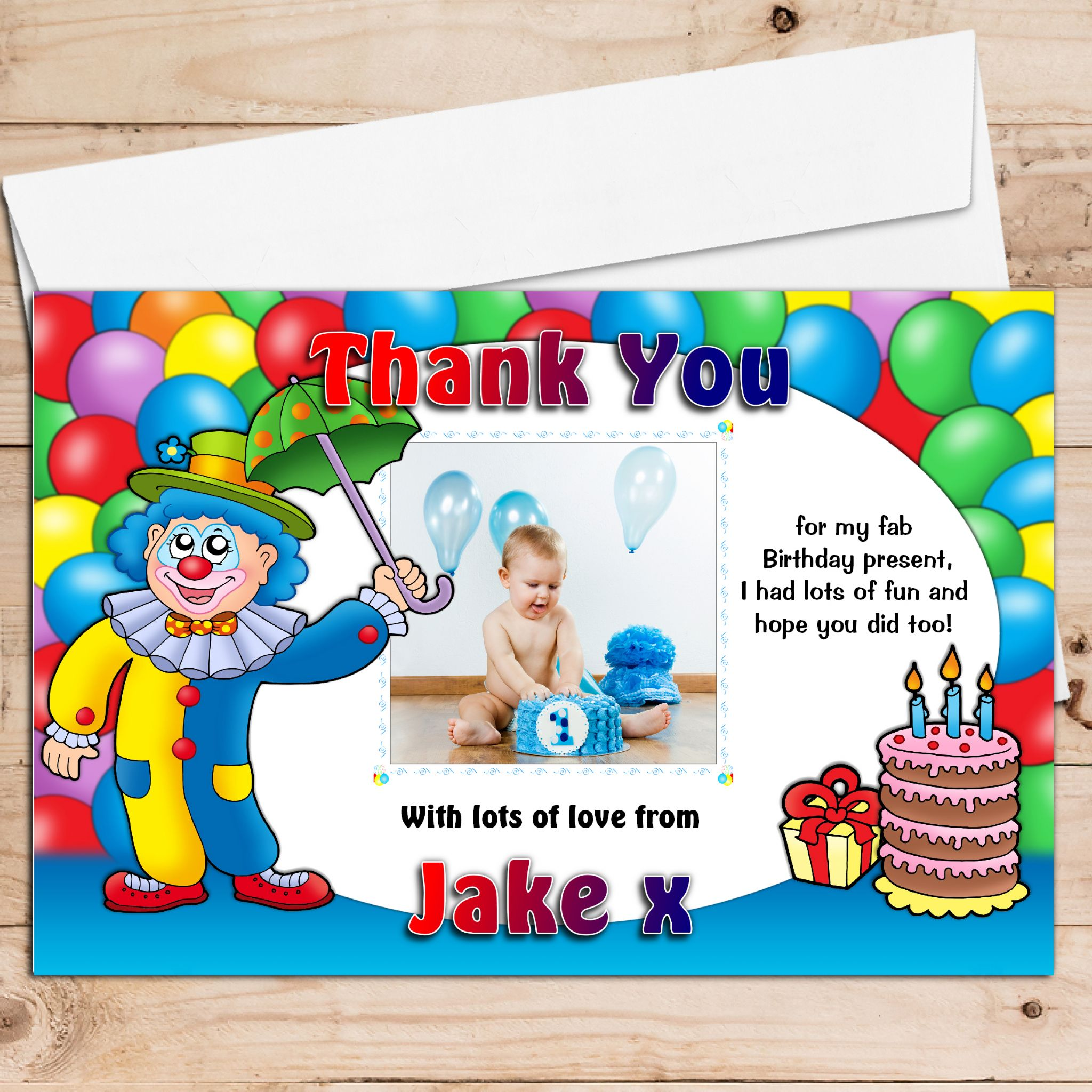 10 personalised boys girls clown balloons birthday party thank 10 personalised boys girls clown balloons birthday party thank you photo cards n3 monicamarmolfo Images