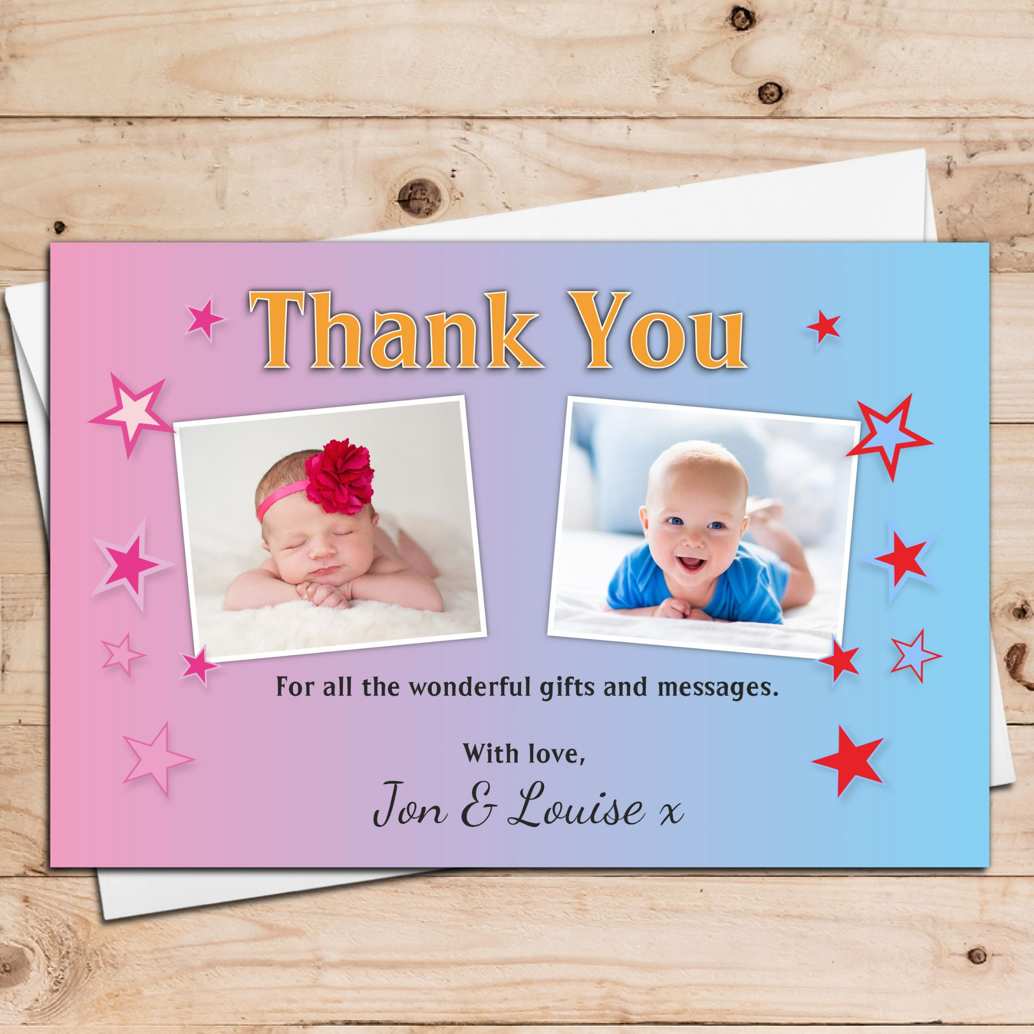 10 Personalised Boys Girls Twins Joint Christening Baptism – Personalised Birthday Thank You Cards