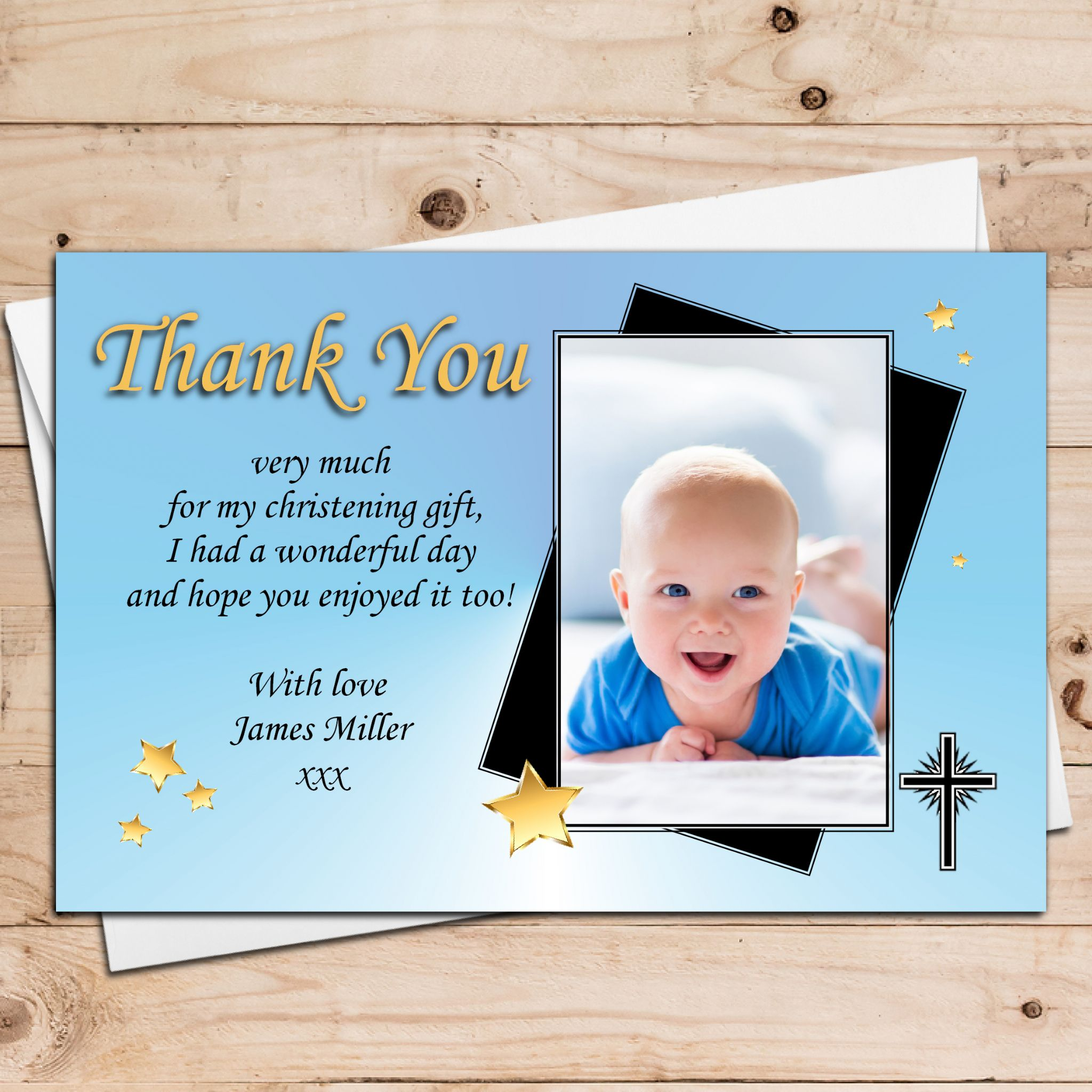 10 Personalised Boys Gold Star Christening Baptism Thank You Photo Cards N28