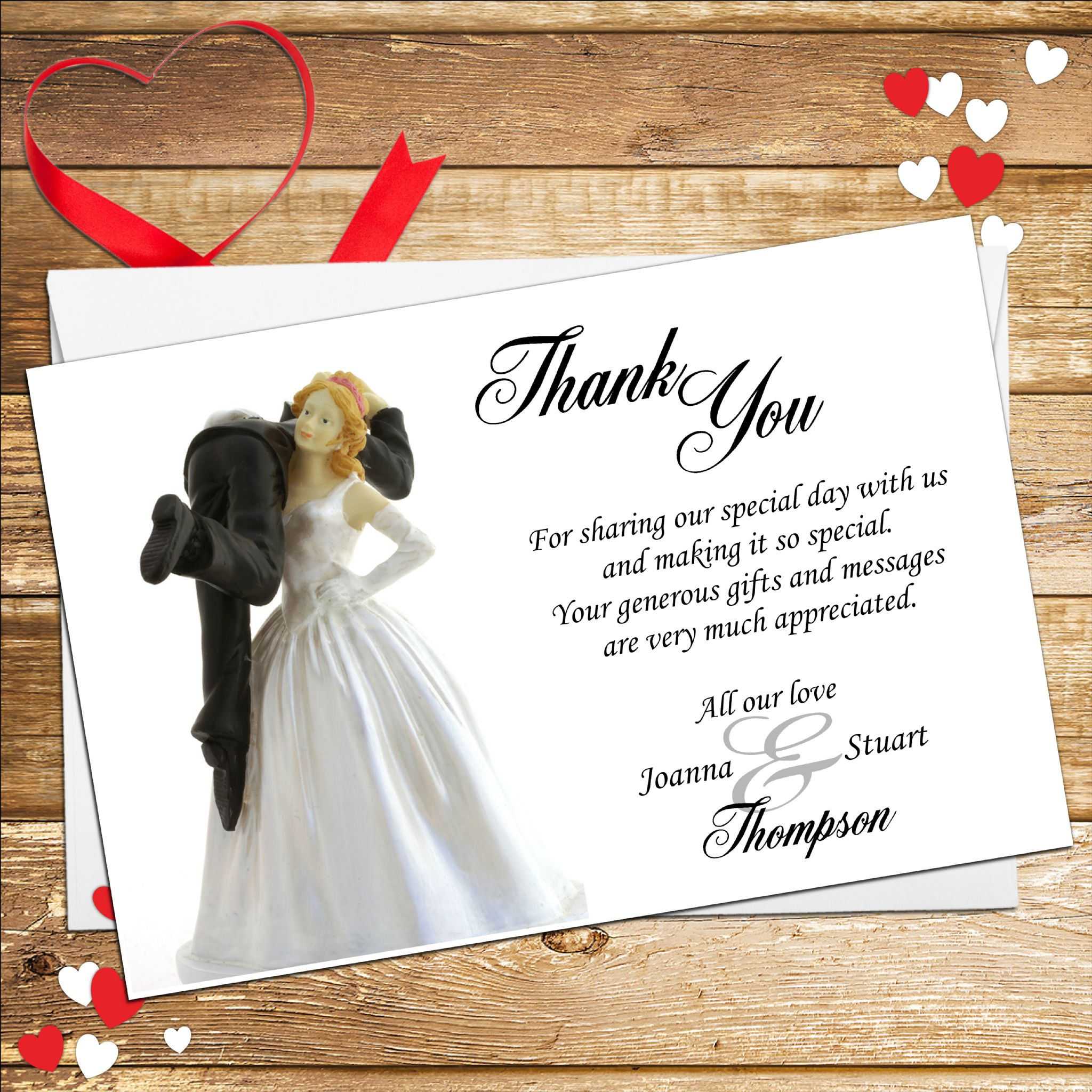 10 Personalised Bride and Groom Humour Wedding Thank you cards N3 – What to Put in a Wedding Thank You Card