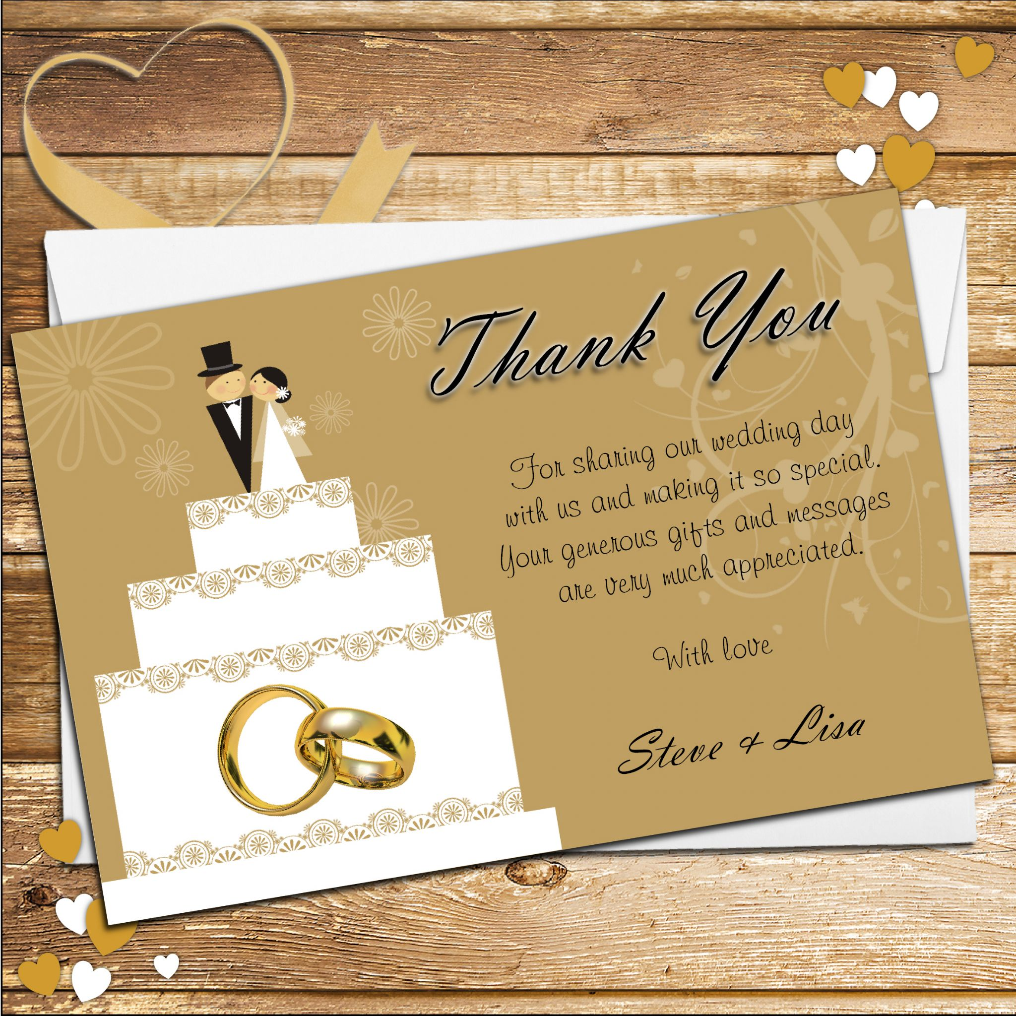 10 personalised cake topper wedding thank you cards n178 - Decoration table pour invites ...