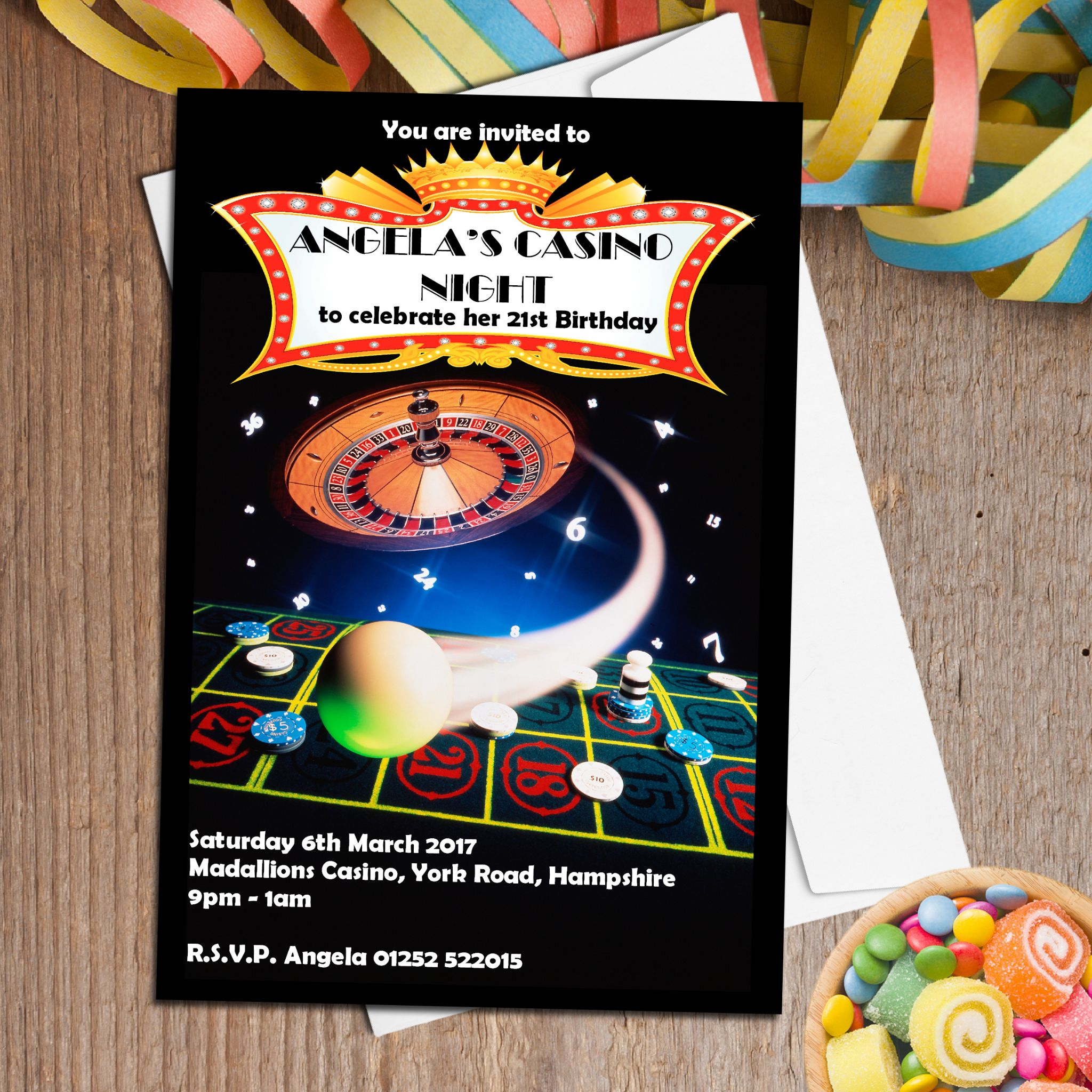 10 Personalised Casino Roulette Party Invitations N42