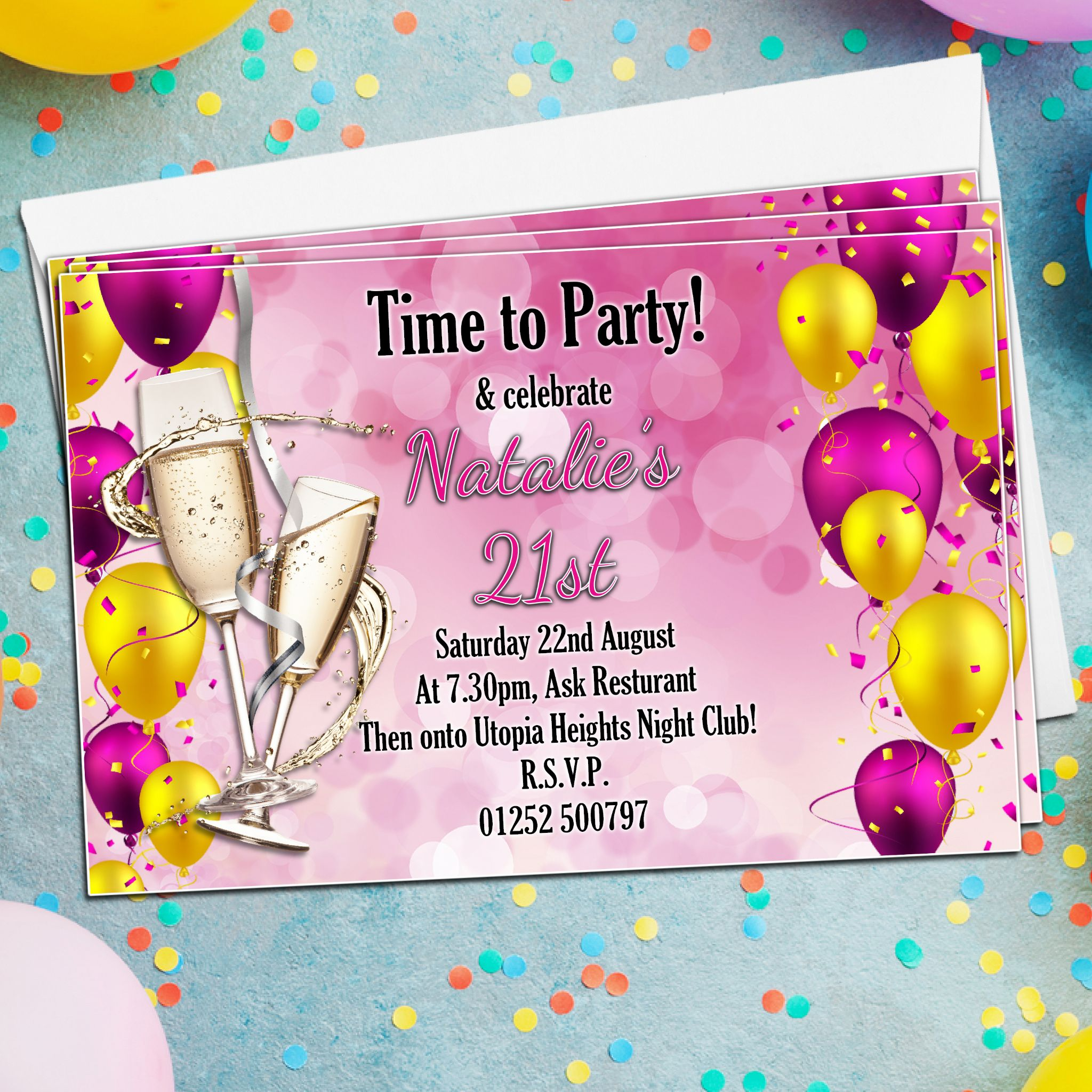10 Personalised Champagne Balloons Birthday Party Invitations N181