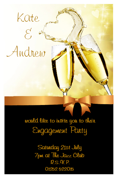Personalised Champagne Engagement Party Invitations N6 – Champagne Party Invitations