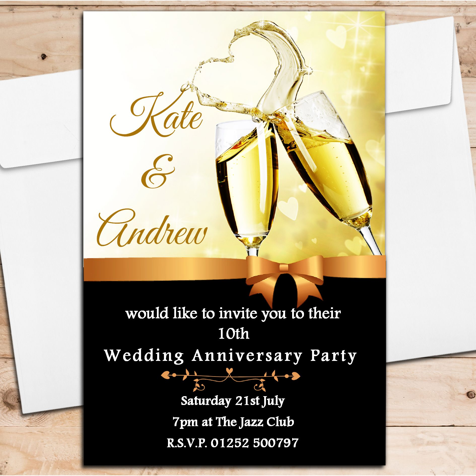10 Year Wedding Anniversary Invitations: 10 Personalised Champagne Wedding Anniversary Invitations N8