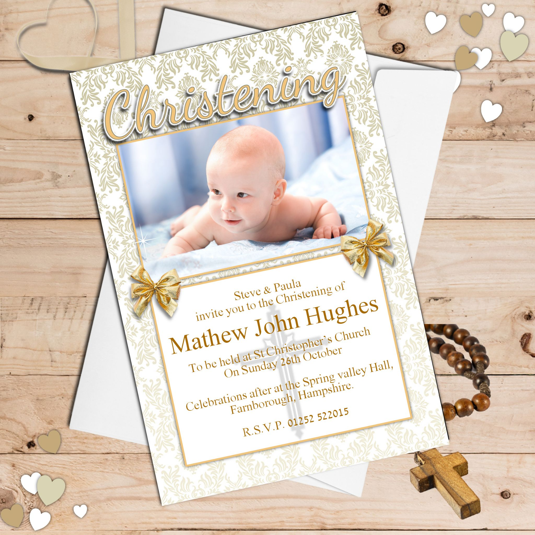 10 personalised christening baptism invitations photo invites n88