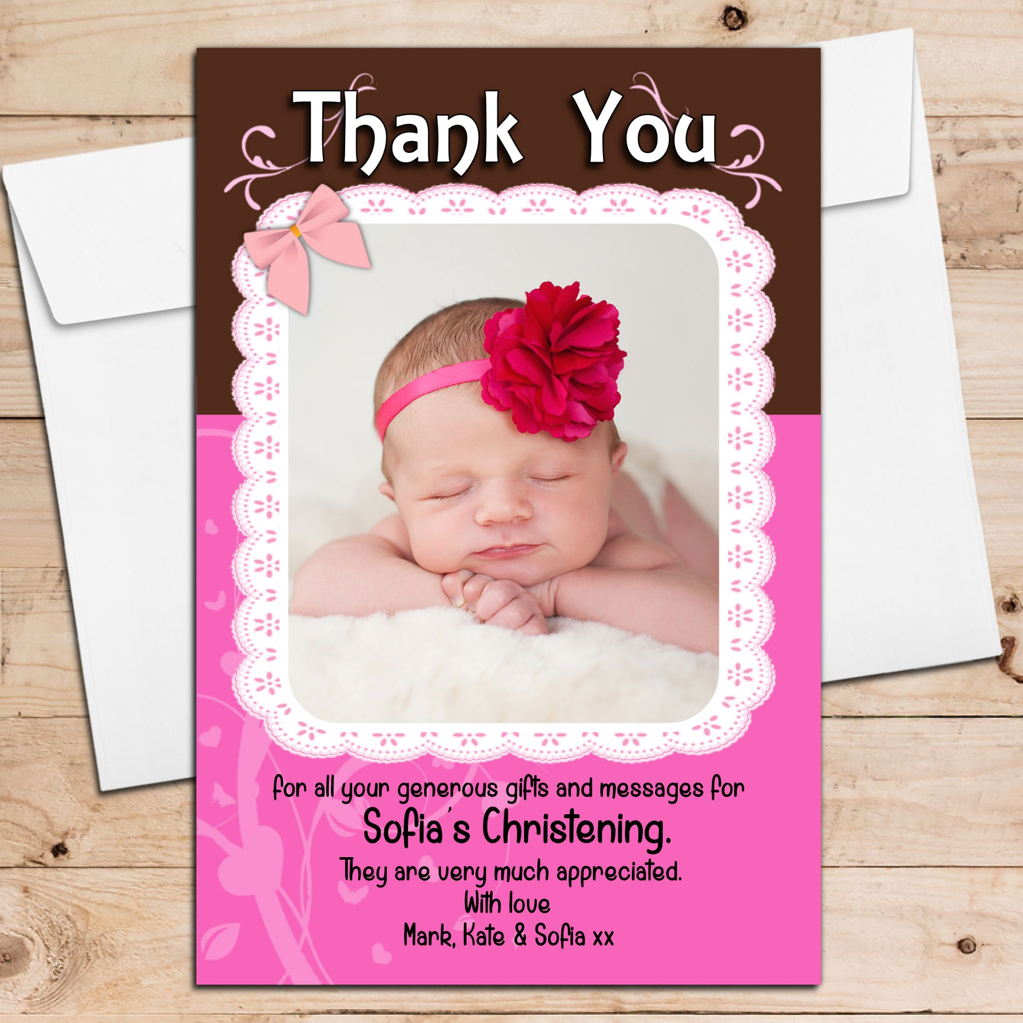 10 Personalised Christening Birthday New Baby Thank You Cards N197