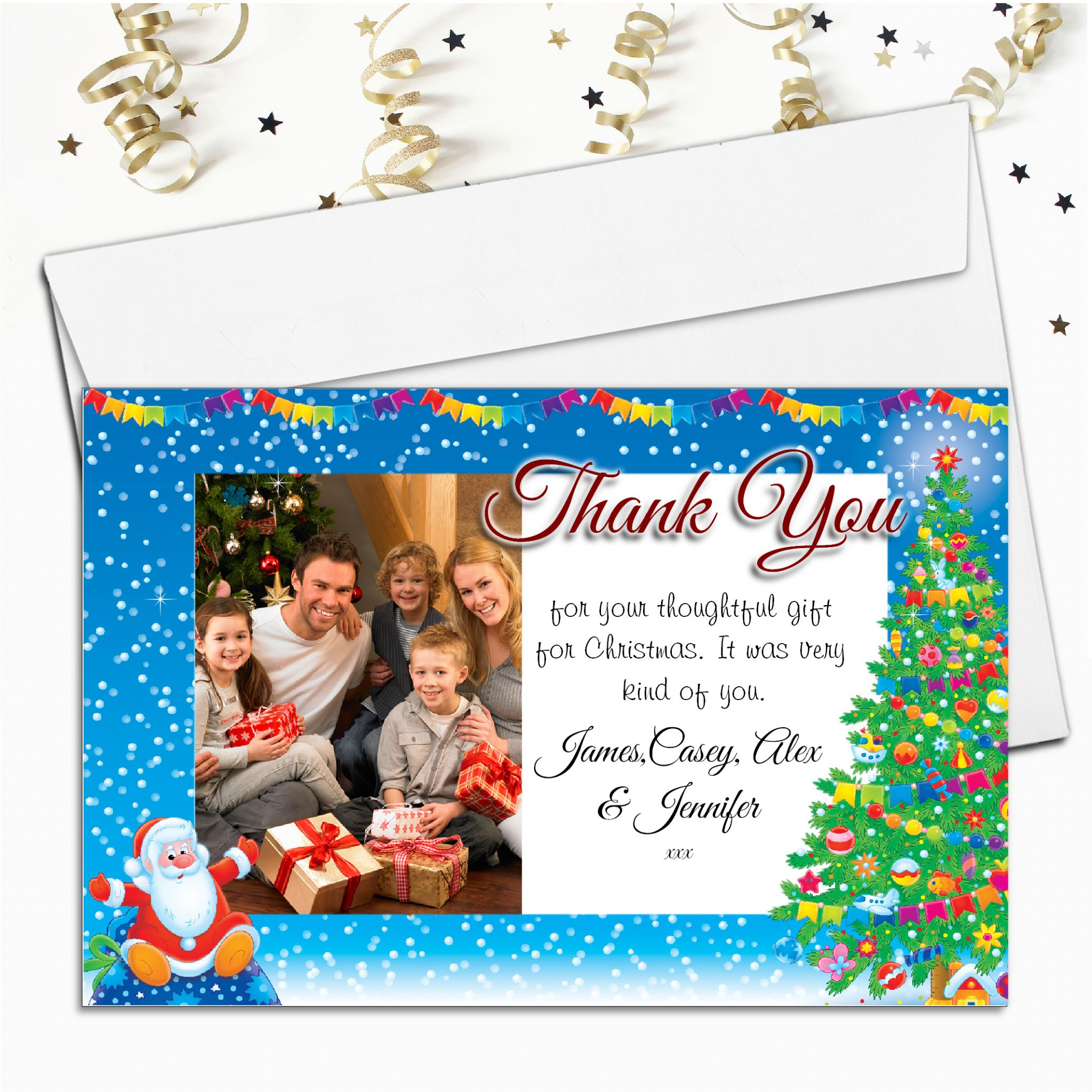 Christmas Thank You Cards.10 Personalised Christmas Thank You Cards Santa Photo Frame N23