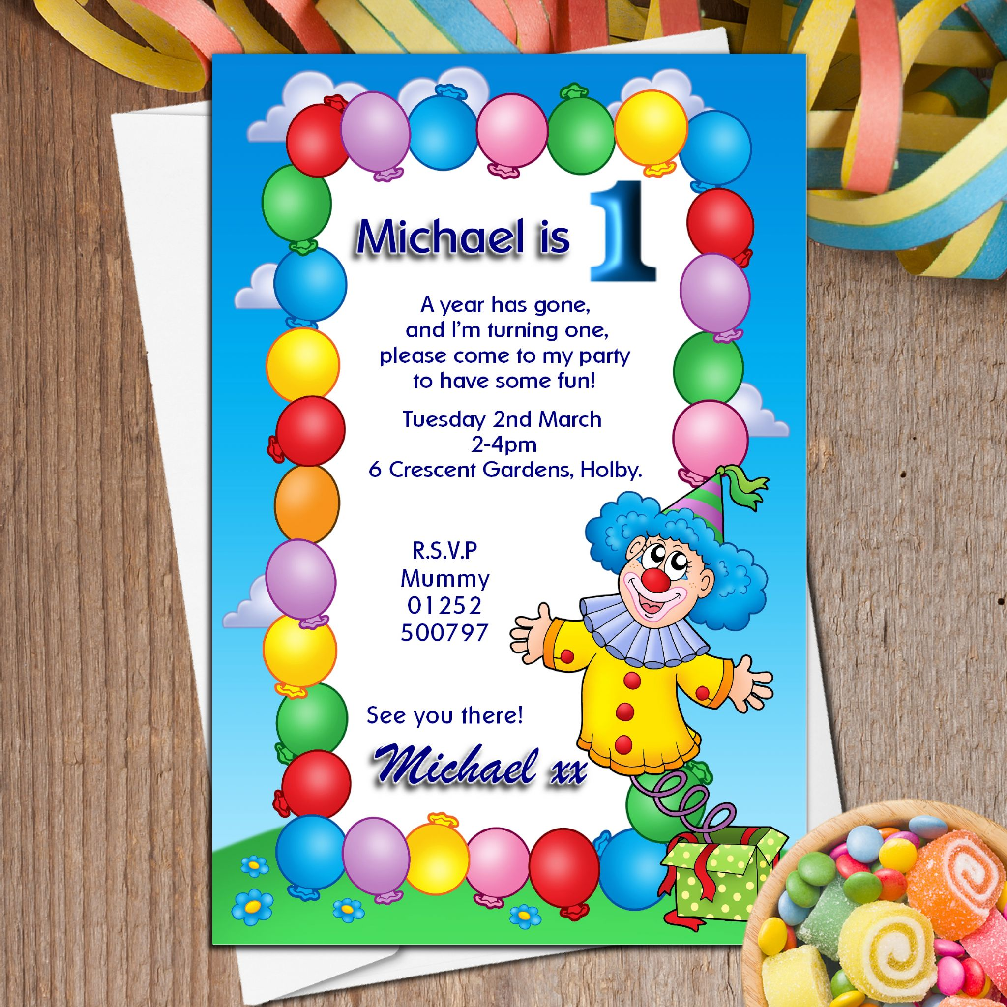 10 Personalised Clown & Balloons Birthday Party Invitations N12