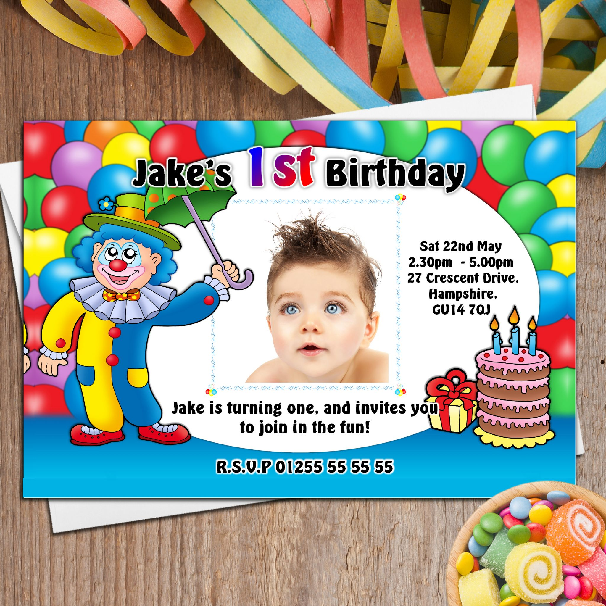 10 Personalised Clown Birthday Party Photo Invitations N8