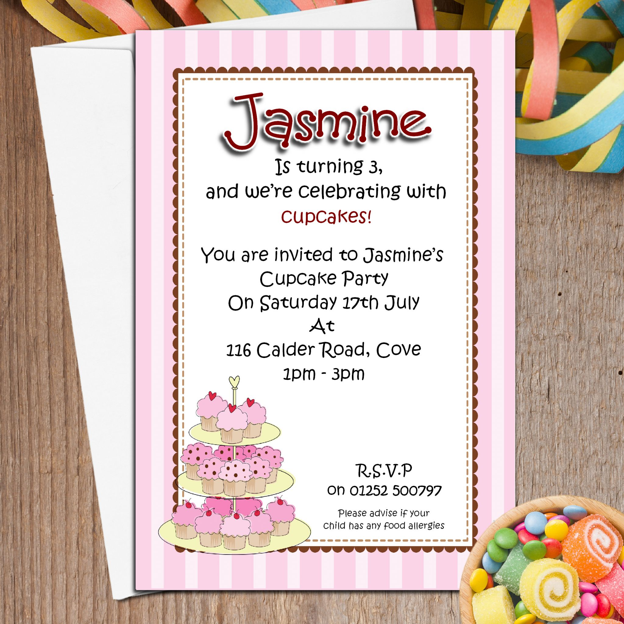 10 Personalised Cupcake Birthday Party Invitations N51