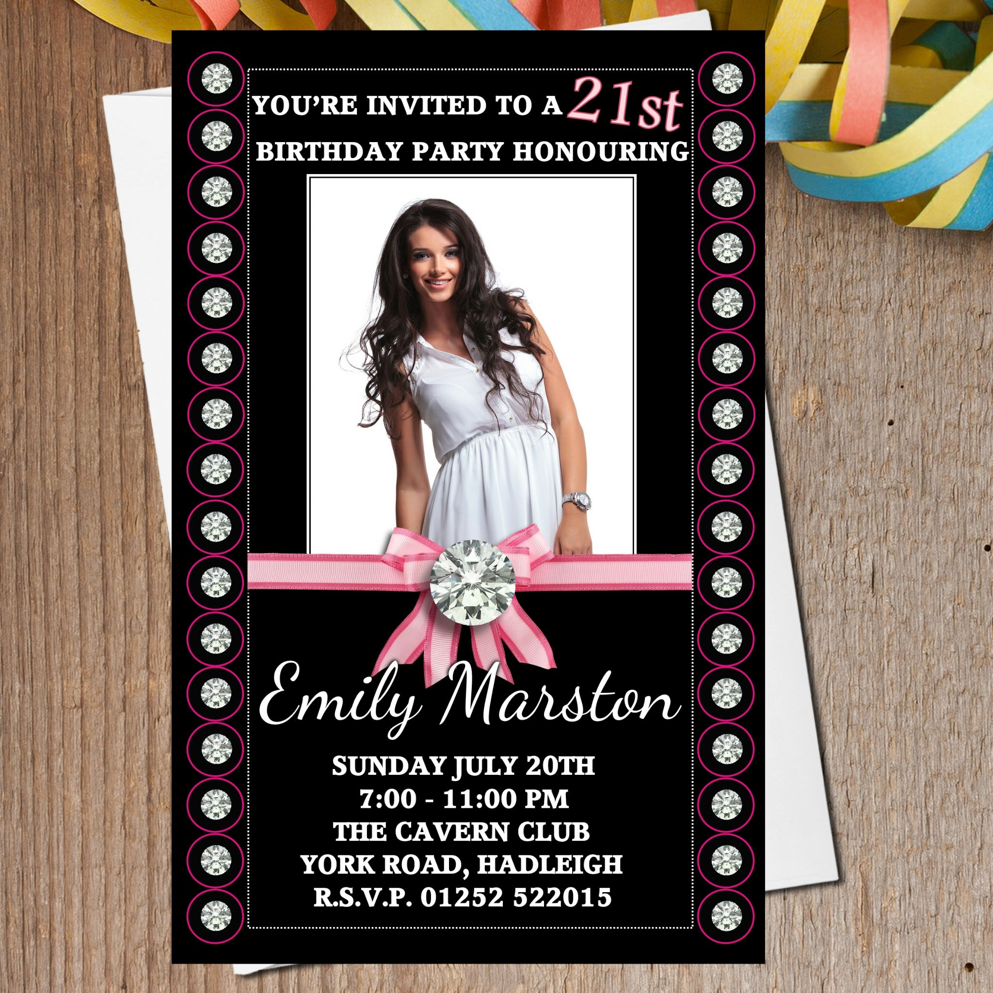 10 Personalised Diamond Bling Birthday Party PHOTO Invitations N166 – Personalised 21st Birthday Invitations