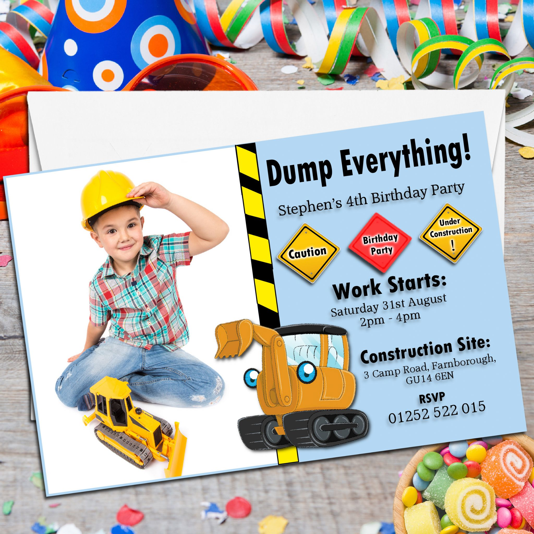 10 Personalised Digger Tractor Birthday Party PHOTO Invitations N155 – Digger Party Invitations