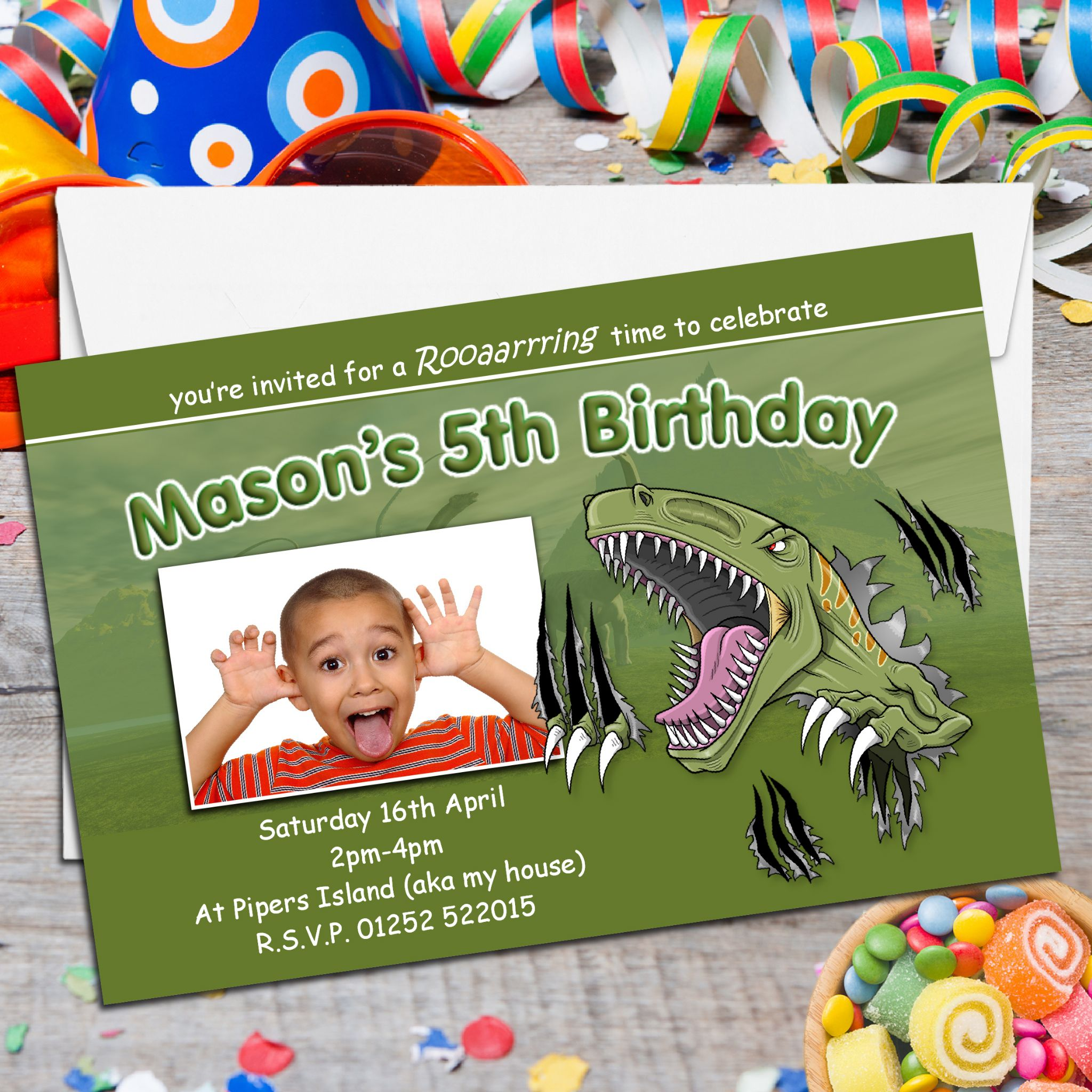 10 Personalised Dinosaur T Rex Birthday Party PHOTO Invitations N121