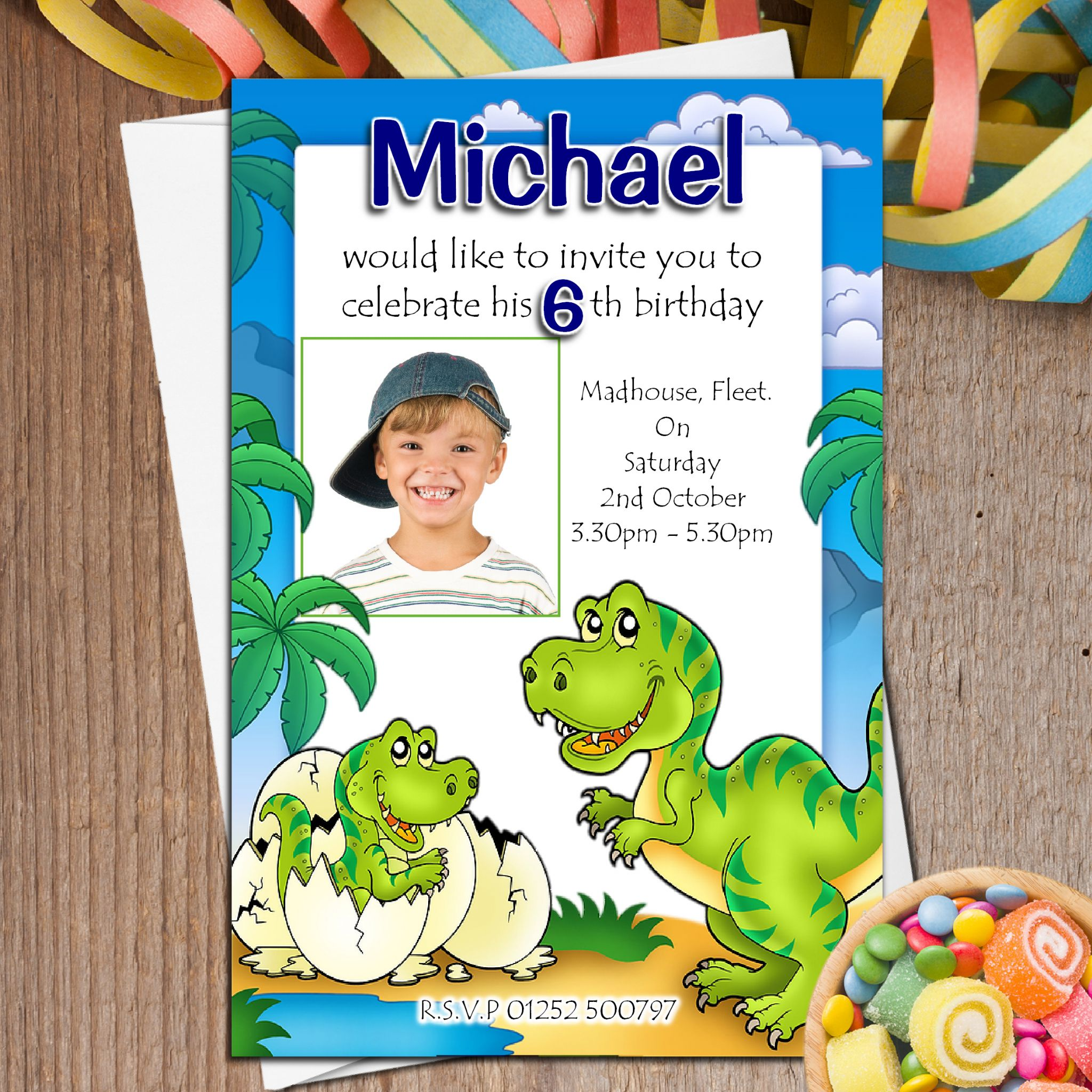 10 Personalised Dinosaur T Rex Birthday Party Photo Invitations N44 1659 P