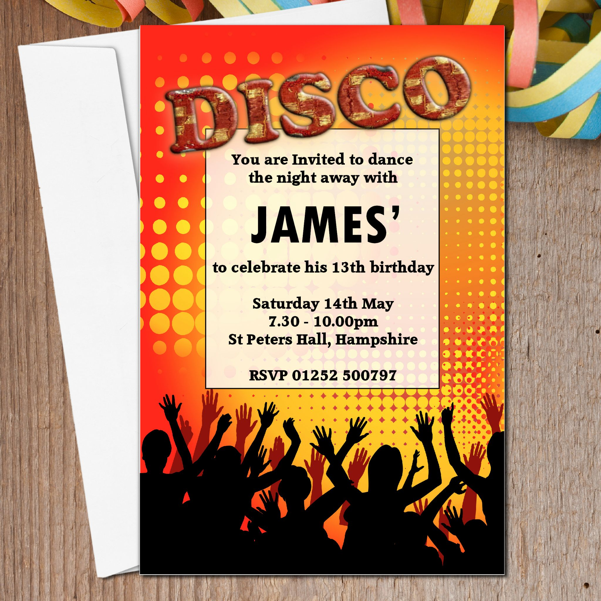 10 Personalised DISCO Birthday Party Invitations N3