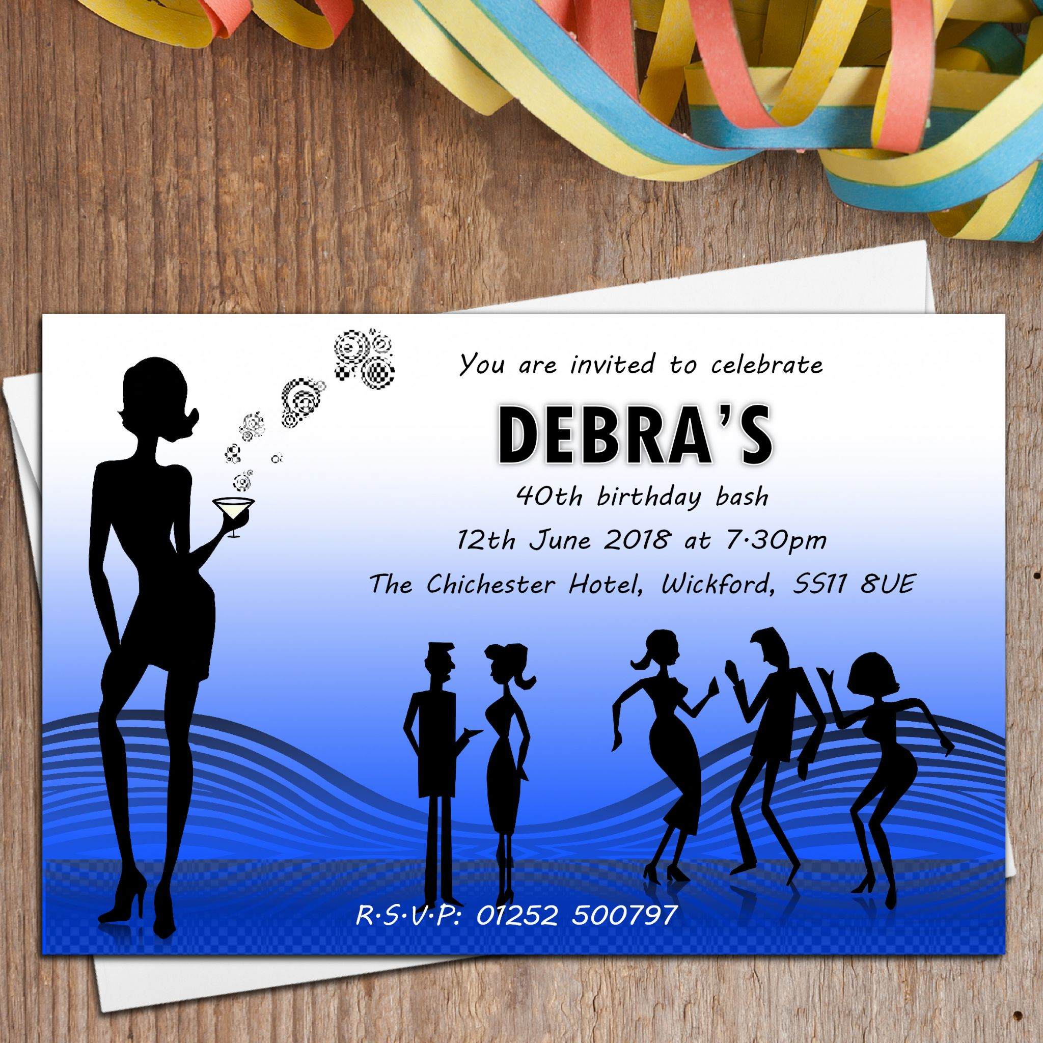 10 Personalised Disco Cocktail 18th 21st 30th 40th 50th 60th Birthday Party Invitations N3