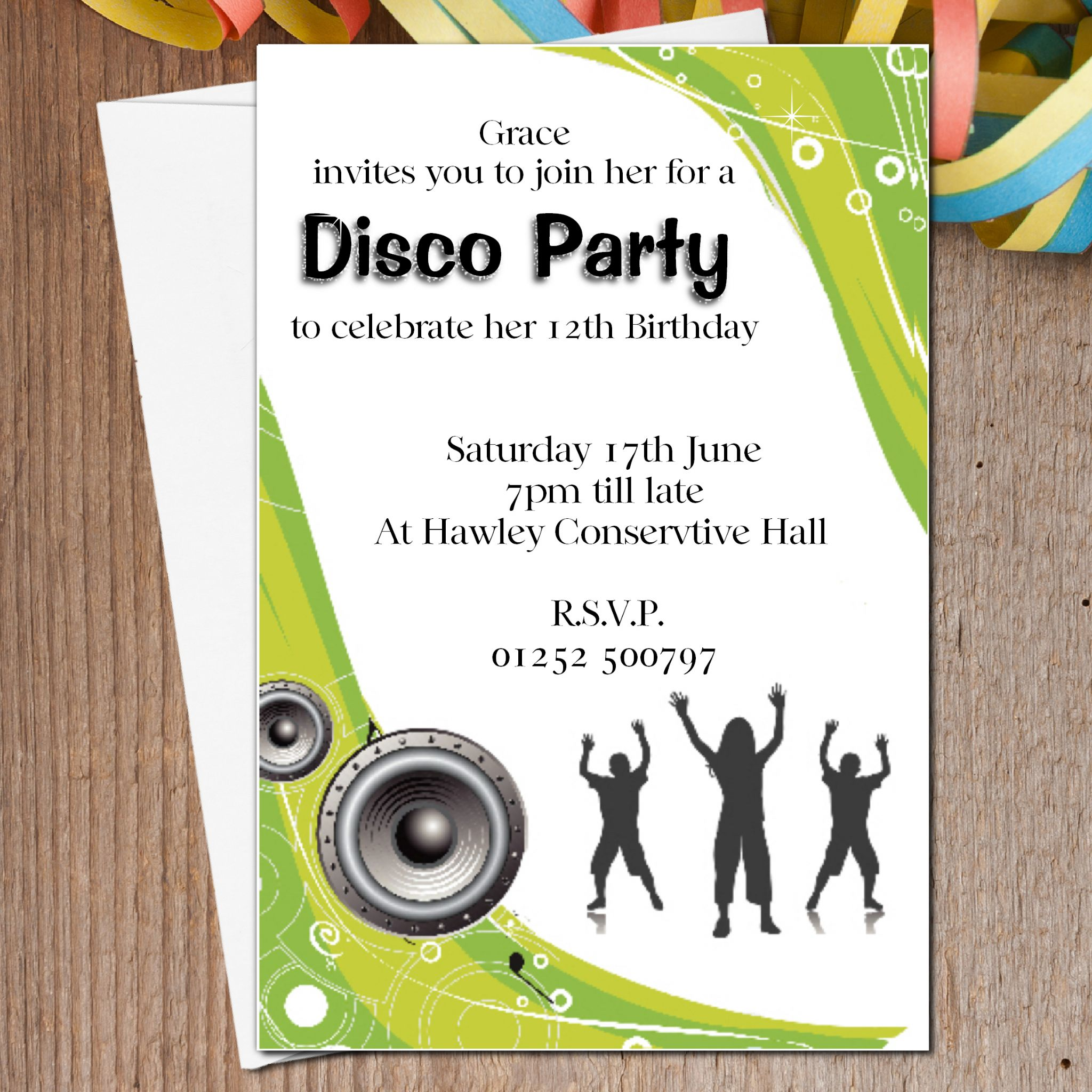 10 Personalised Disco Dance Birthday Party Invitations N9 – Personalised Party Invites