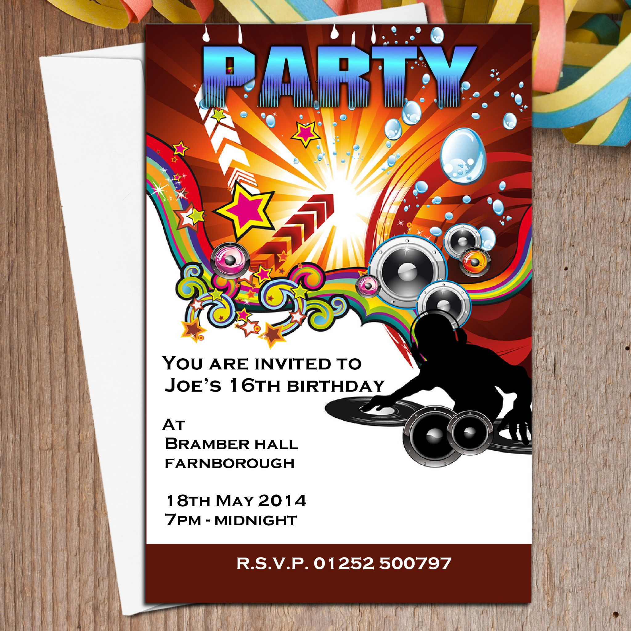10 Personalised Disco Dj Birthday Party Invitations N4
