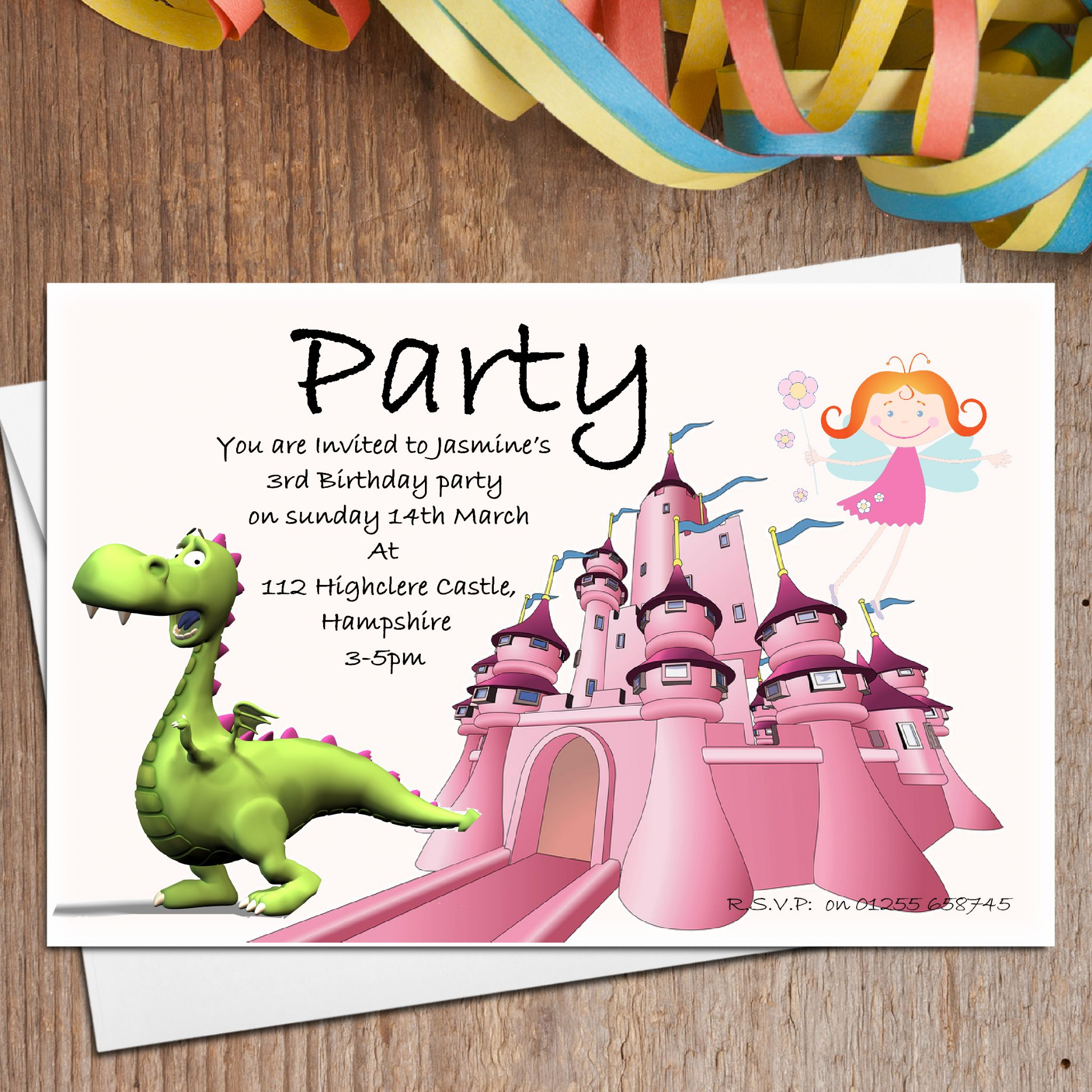 10 Personalised Dragon Fairy Party Invitations – Personalised Party Invites