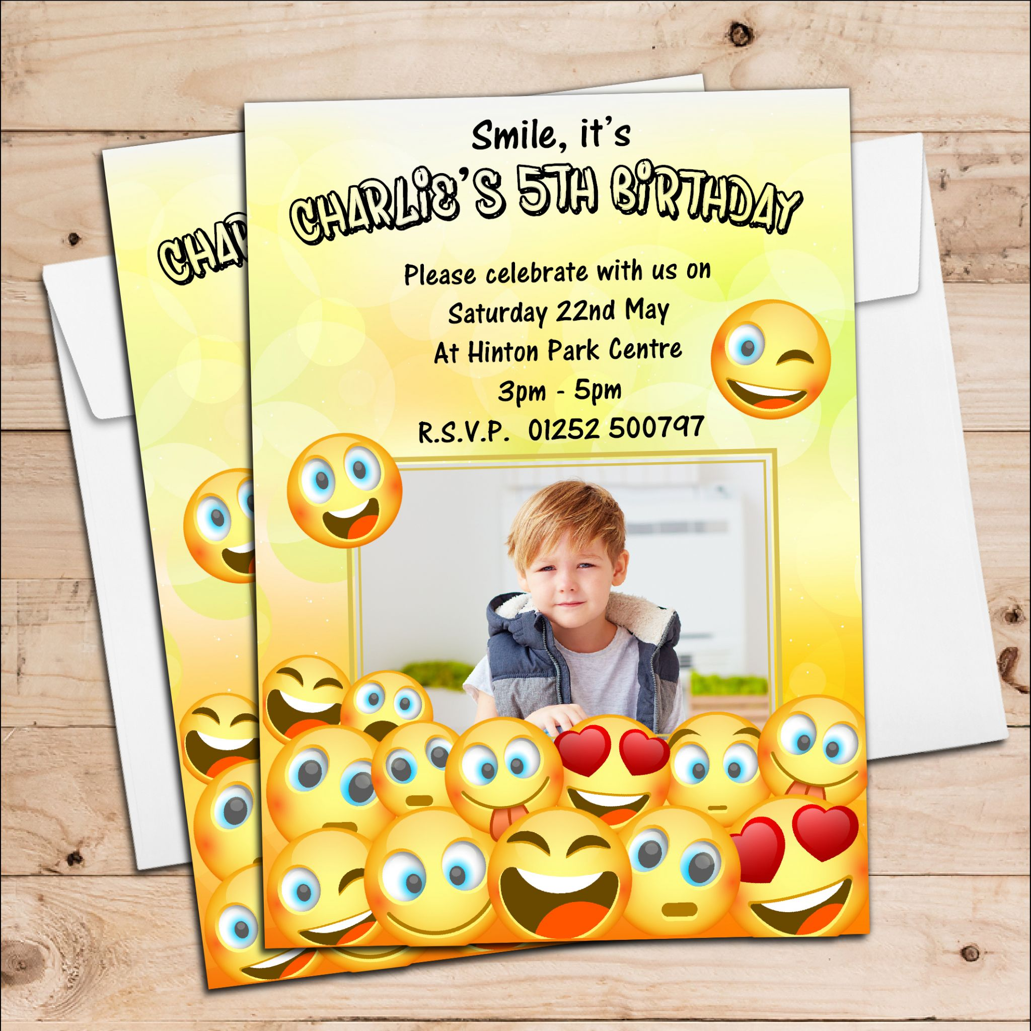 10 Personalised EMOJI Birthday Party PHOTO Invitations N218 ANY AGE