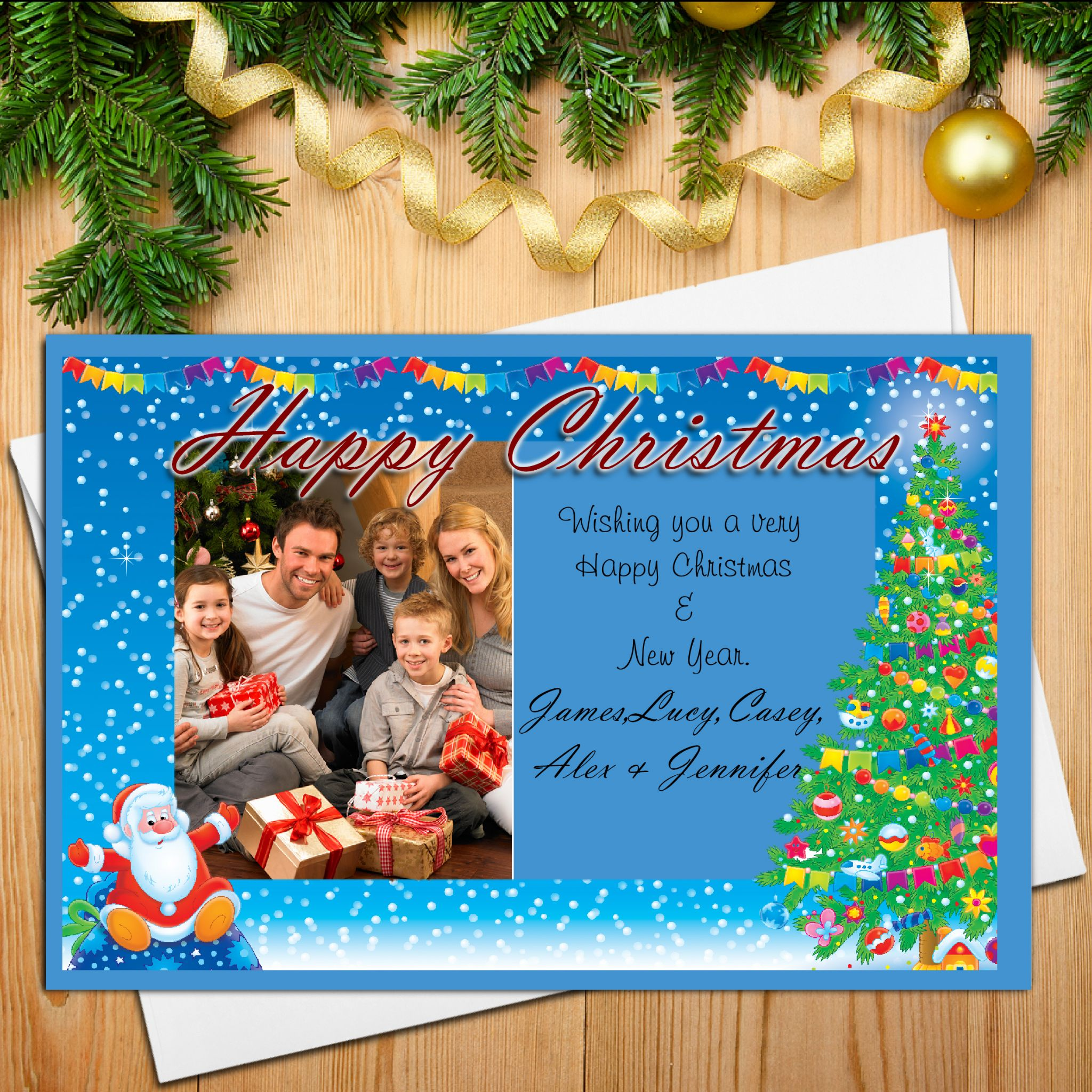 10 personalised family christmas xmas photo post cards n18 kristyandbryce Image collections