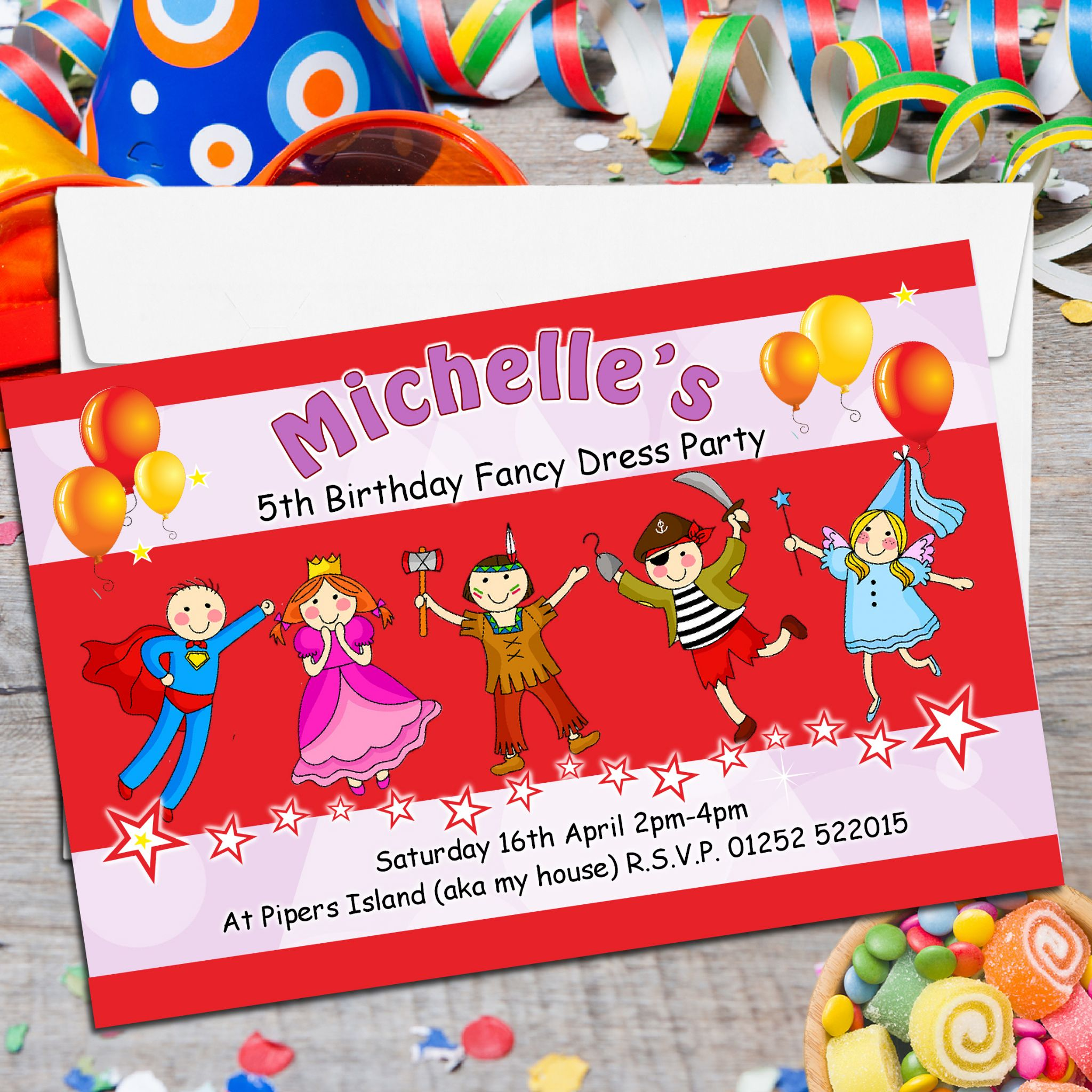 10 Personalised Fancy Dress Birthday Party Invitations N119