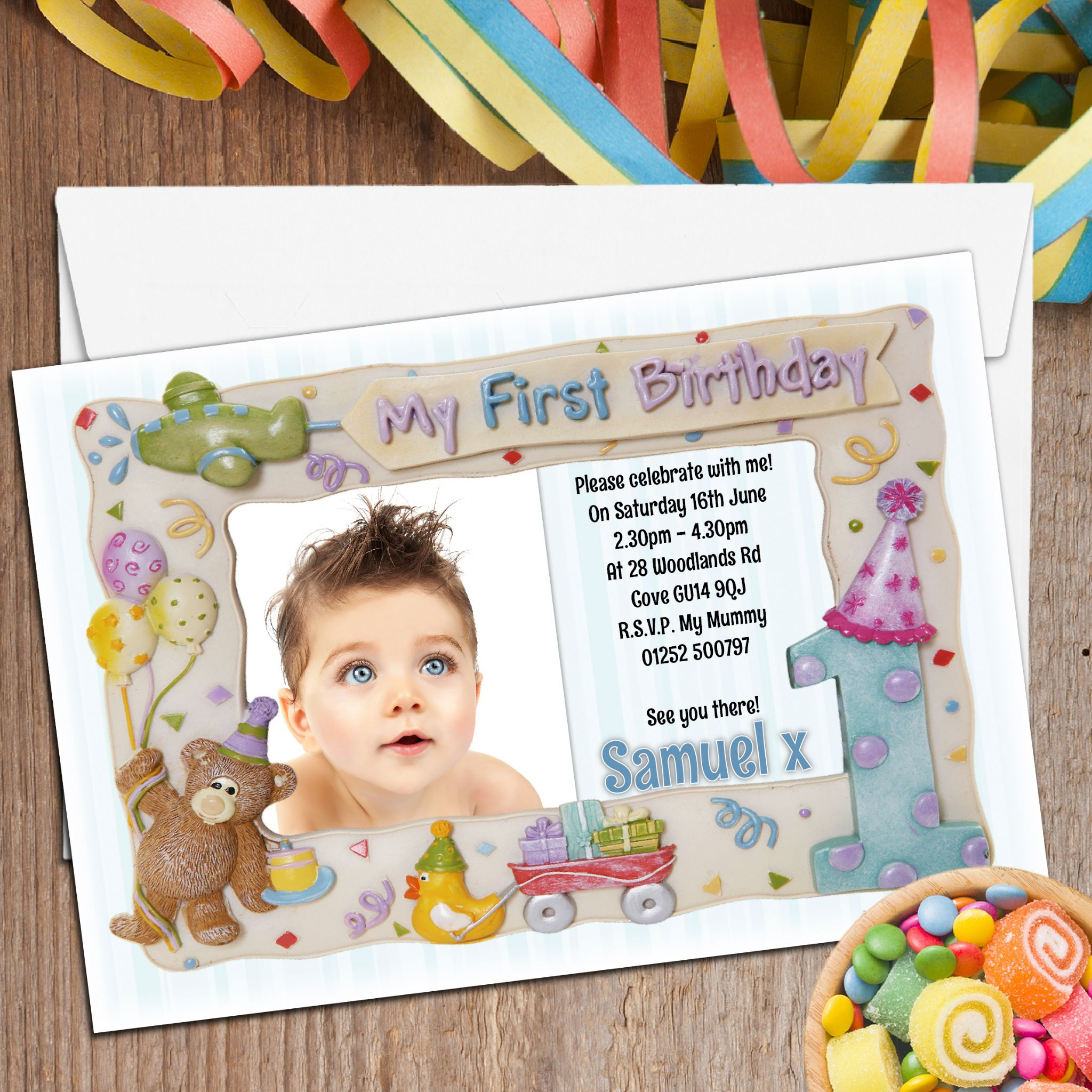 10 Personalised First 1st Birthday Party Frame Photo Invitations N2