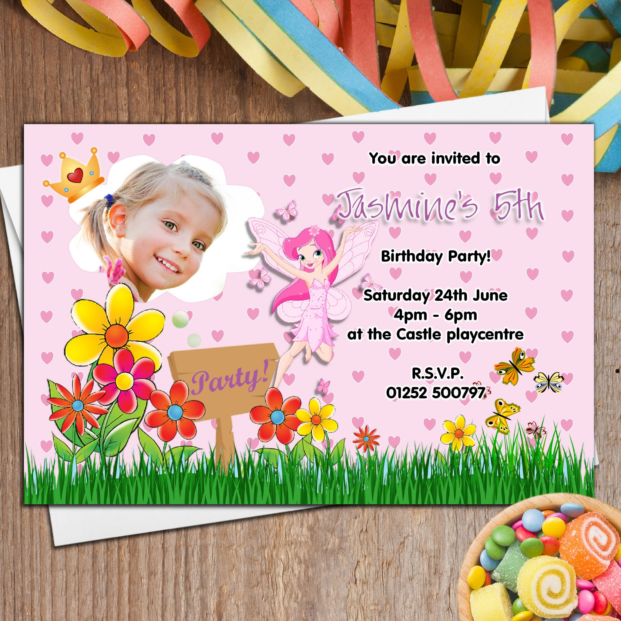 Personalised Flower Fairy Birthday Party PHOTO Invitations N