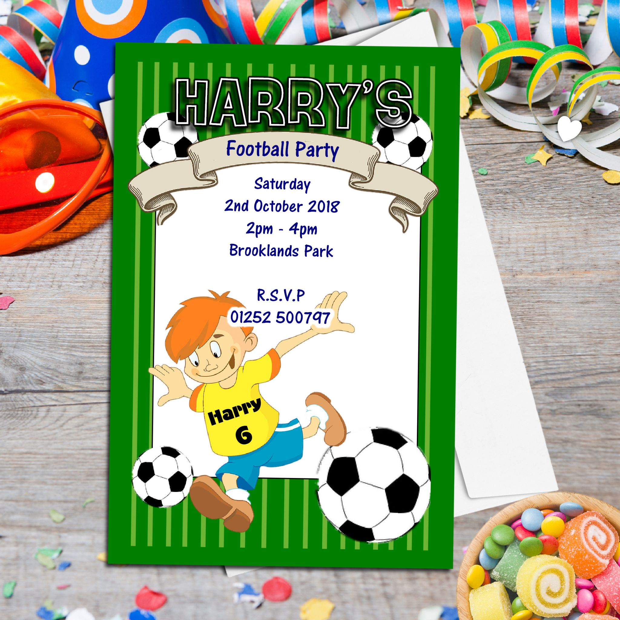 10 Personalised Football Birthday Party Invitations N40
