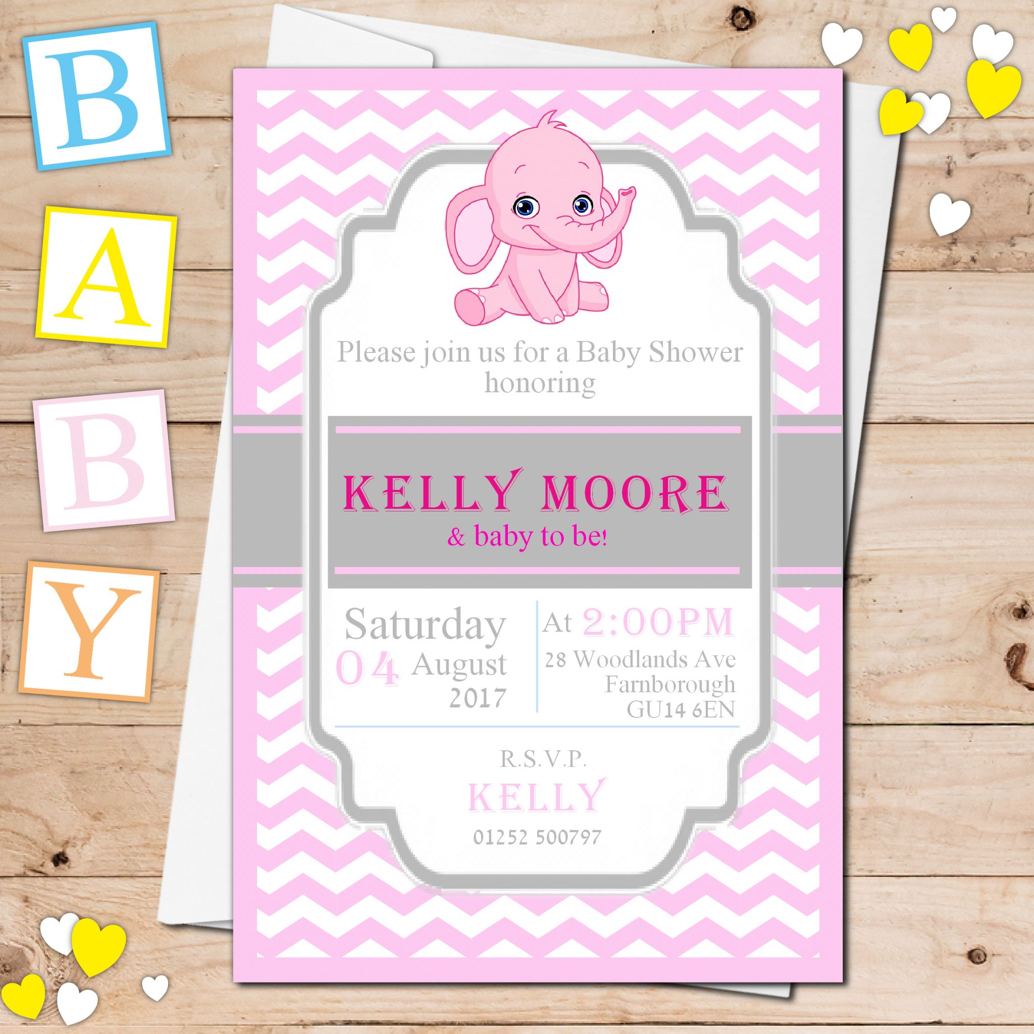 10 Personalised Girl Pink Elephant Baby Shower Invitations N19
