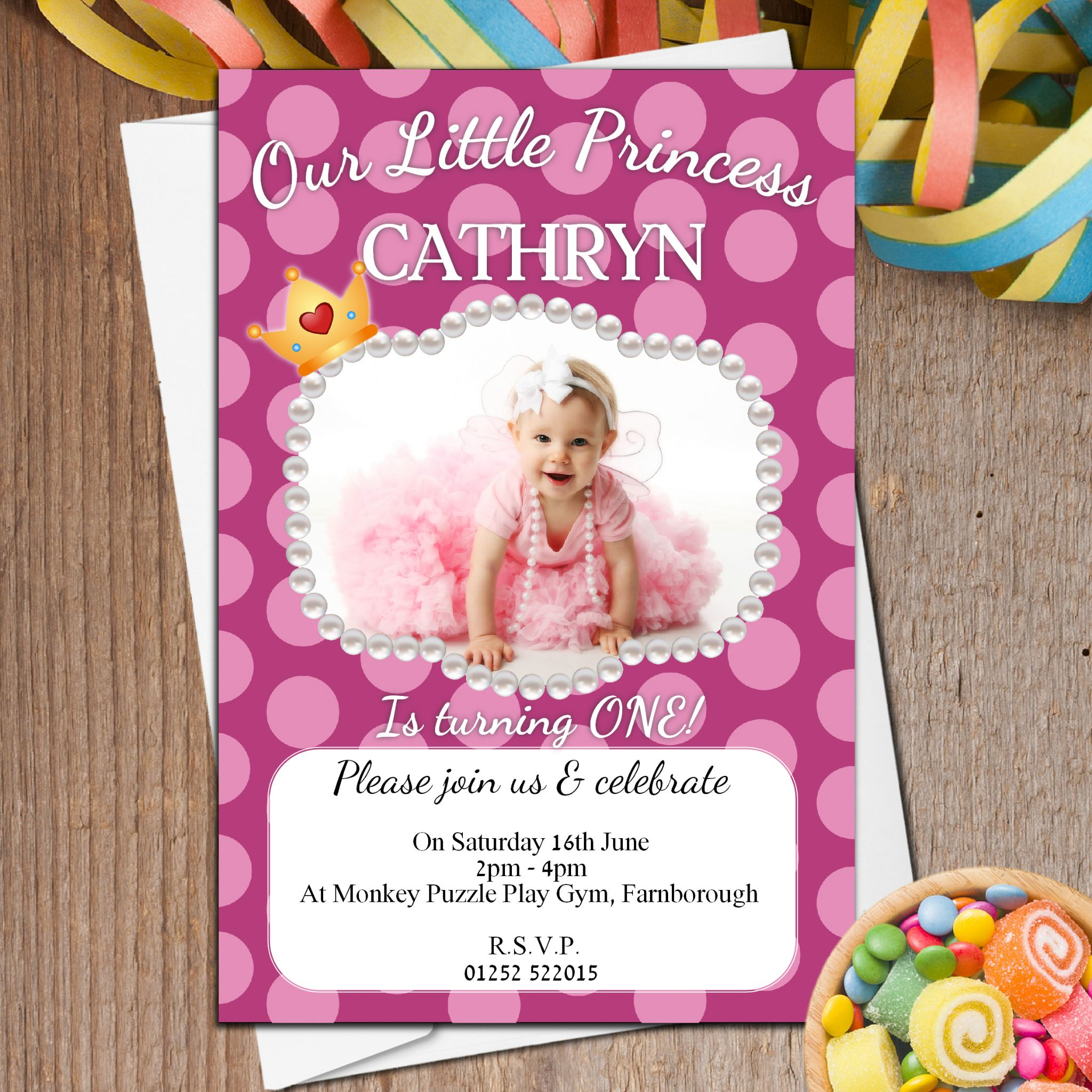 10 Personalised Girls 1st First Birthday Polka Dot Party PHOTO Invitations N37