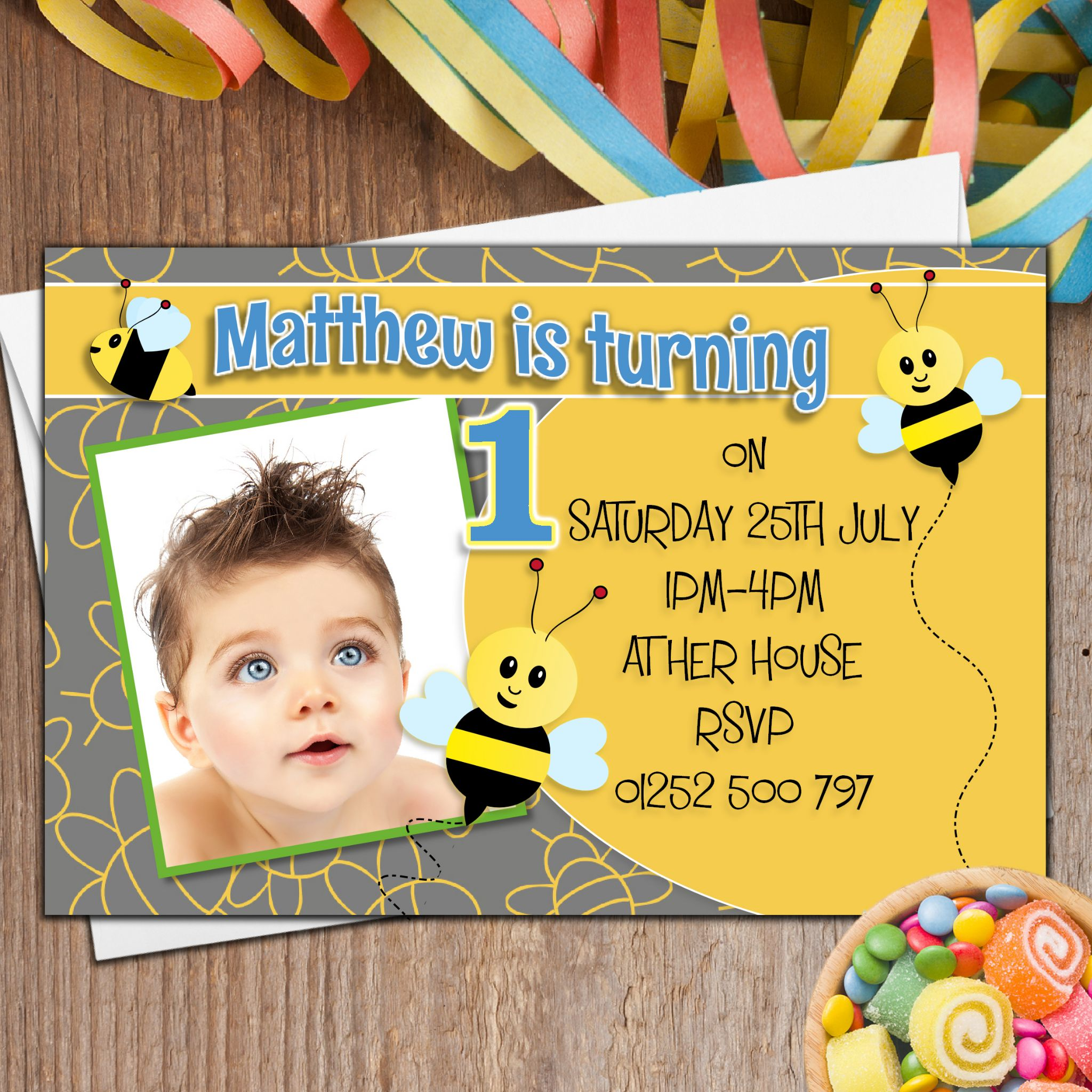 10 Personalised Girls Boys Bumble Bee Birthday Party PHOTO Invitations N34