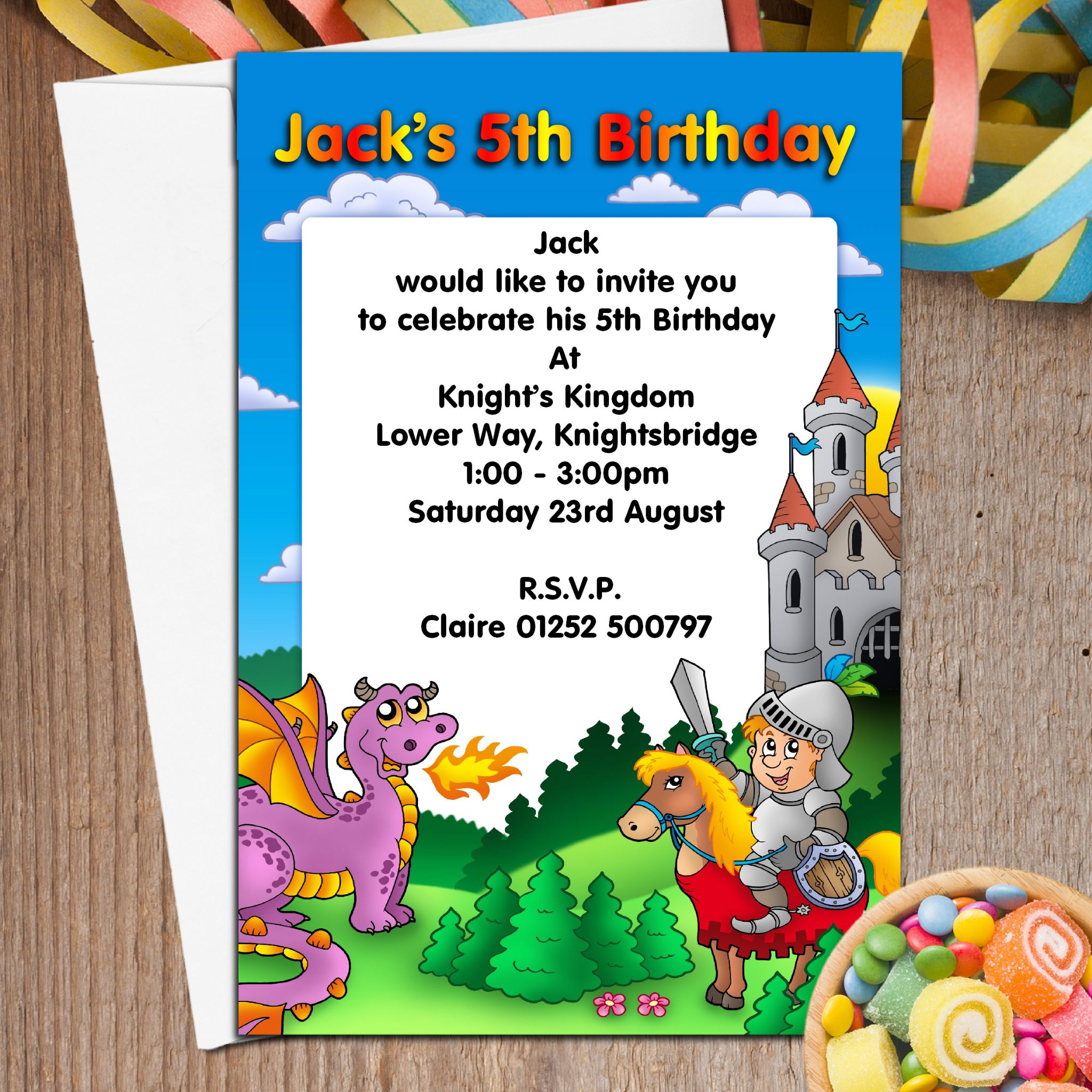 10 Personalised Girls Boys Knights Castle Birthday Party Invitations N52