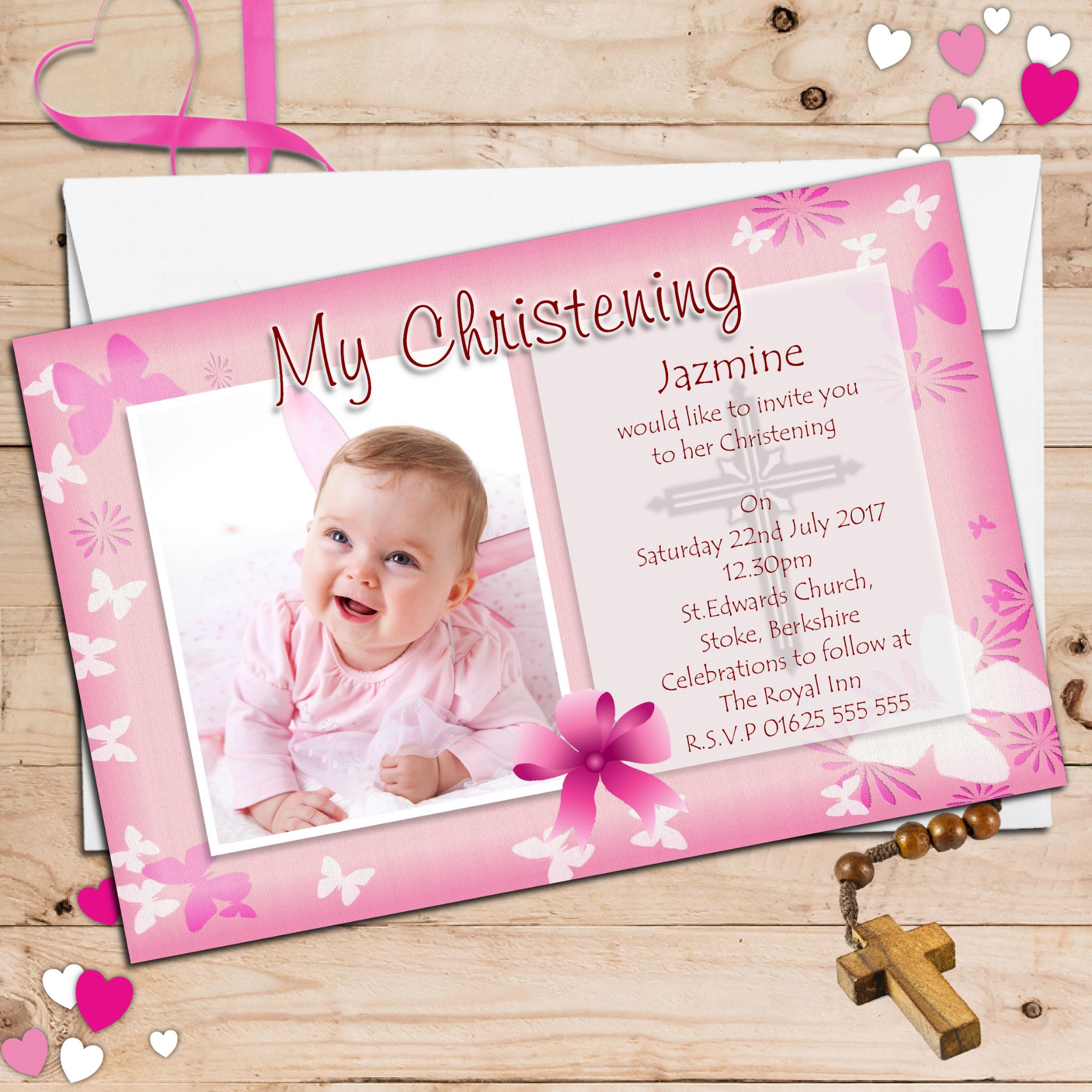 10 Personalised Girls Butterfly Christening Baptism Invitations Photo Invites N54