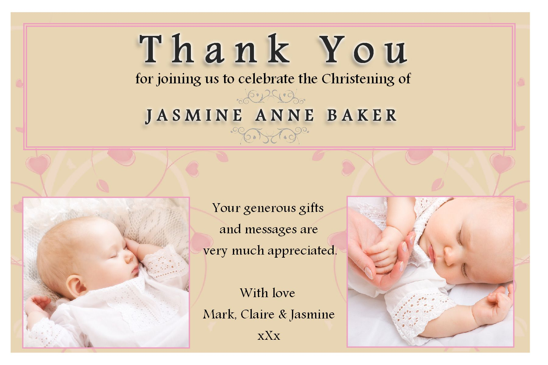 10 Personalised Girls Christening Baptism Thank You Photo Cards N194