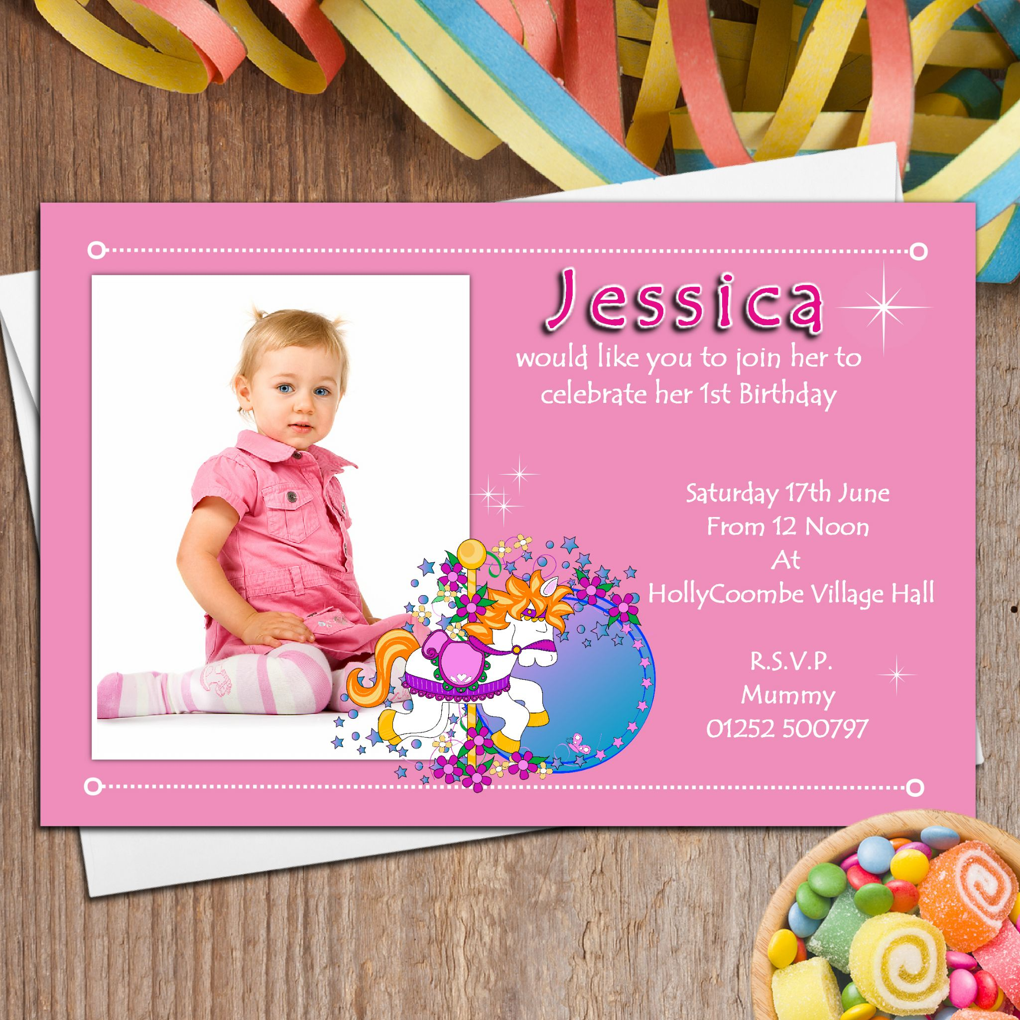 10 Personalised Girls First 1st Birthday Party PHOTO Invitations N11