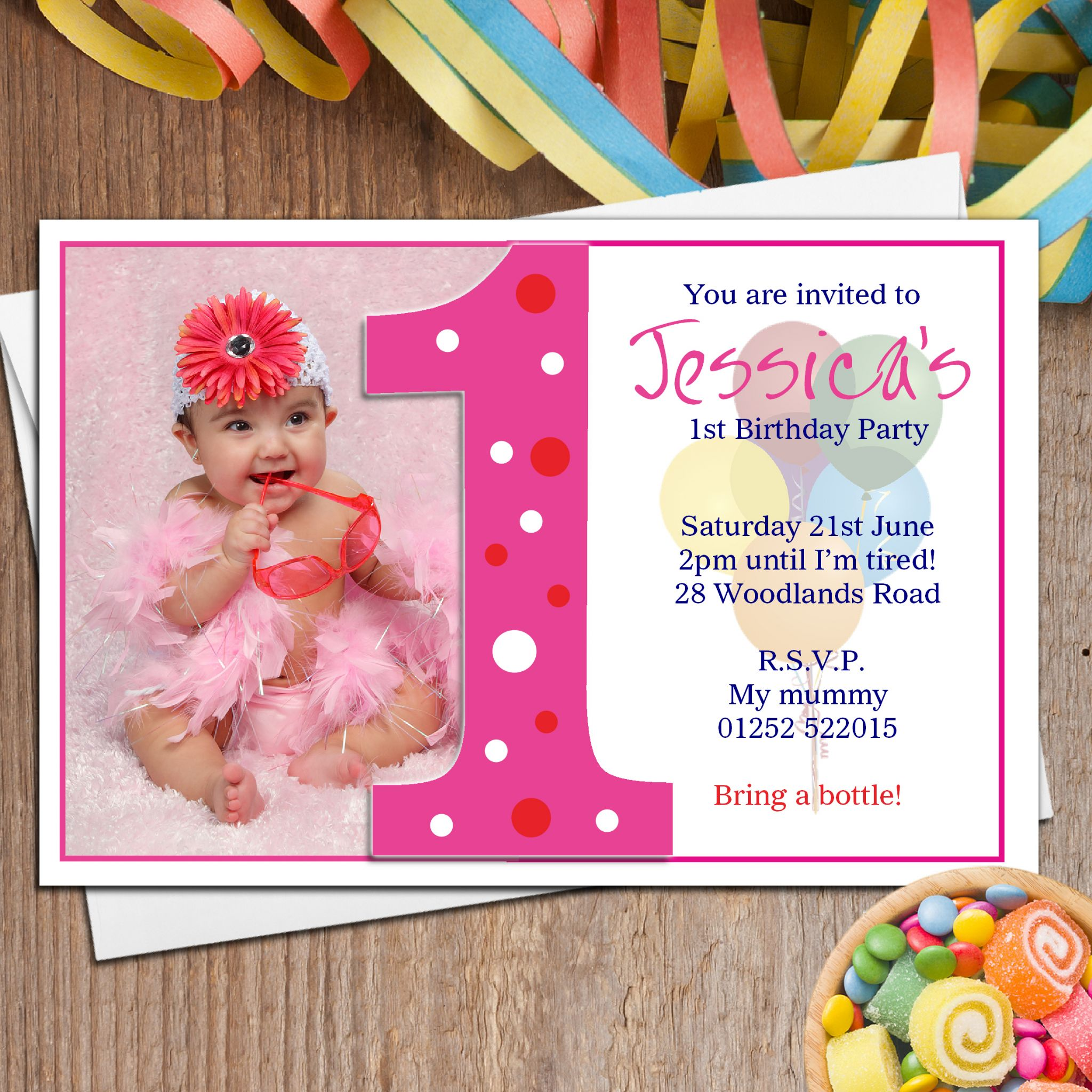 10 personalised girls first 1st birthday party photo invitations n18 stopboris Image collections