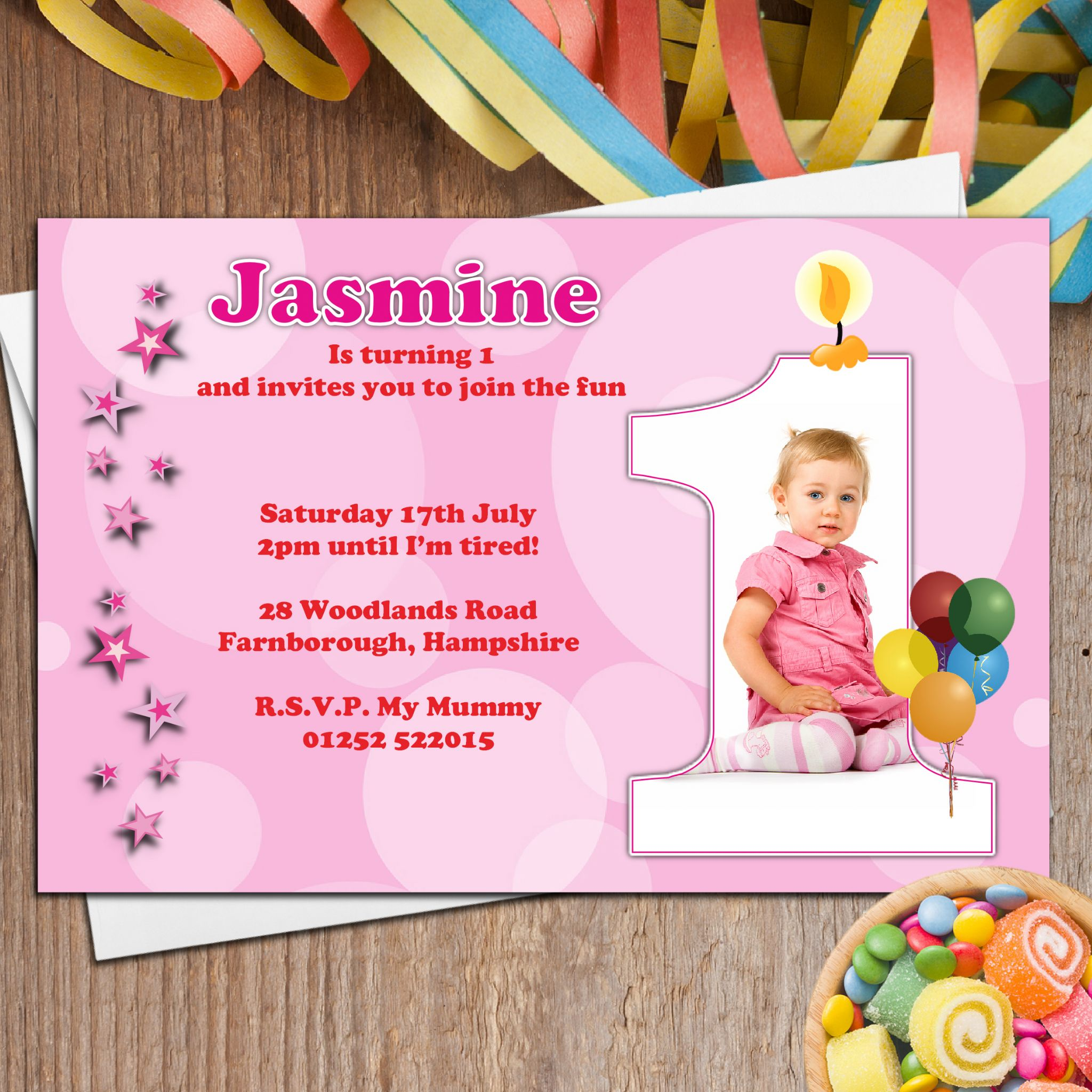 Personalised Girls First 1st Birthday Party PHOTO Invitations N