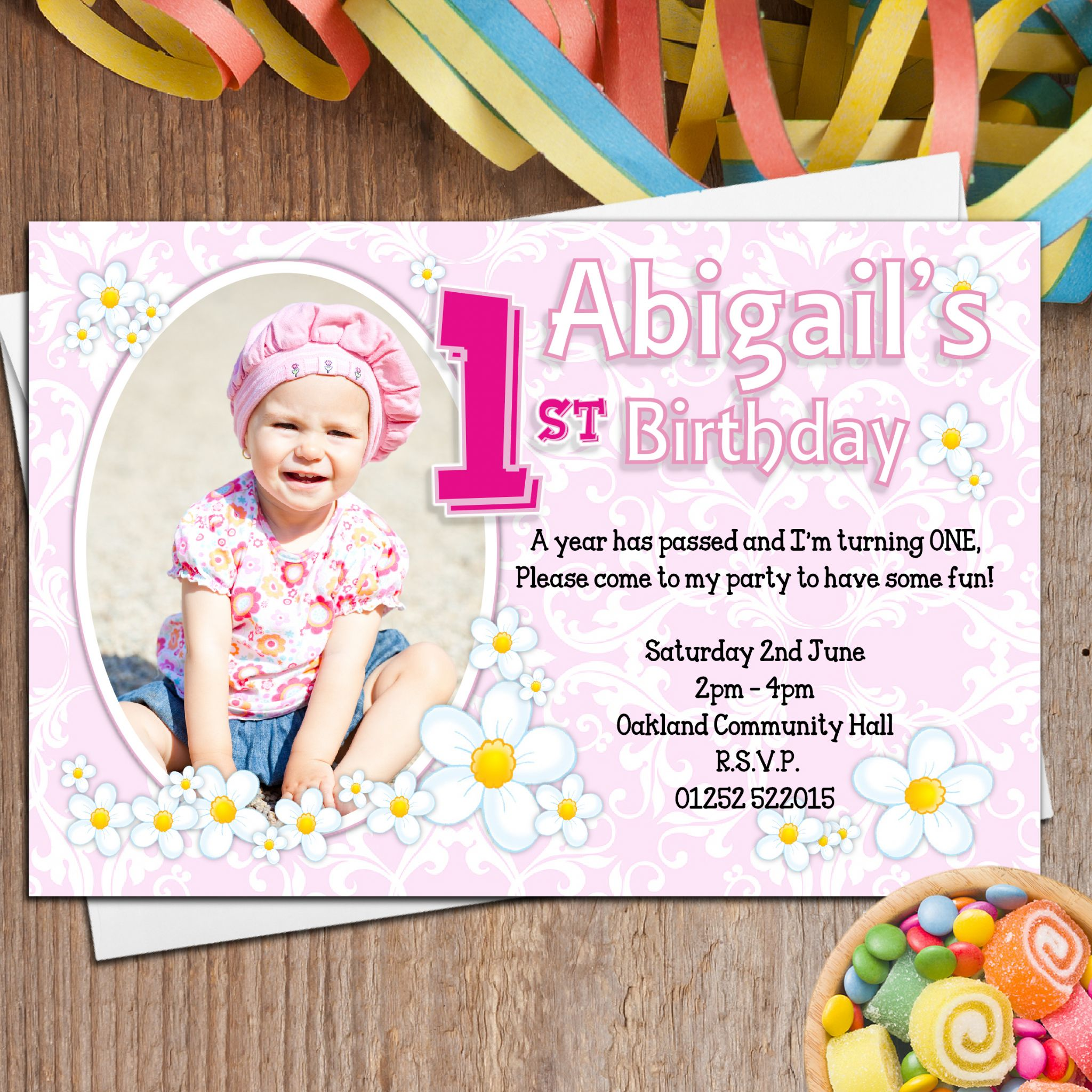 10 Personalised Girls First 1st Birthday Party PHOTO Invitations N27