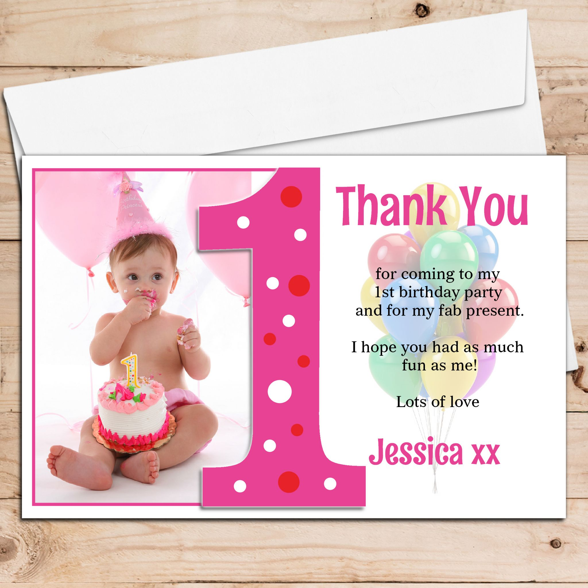10 Personalised Girls First 1st Birthday Thank you PHOTO Cards N192 – First Birthday Thank You Cards