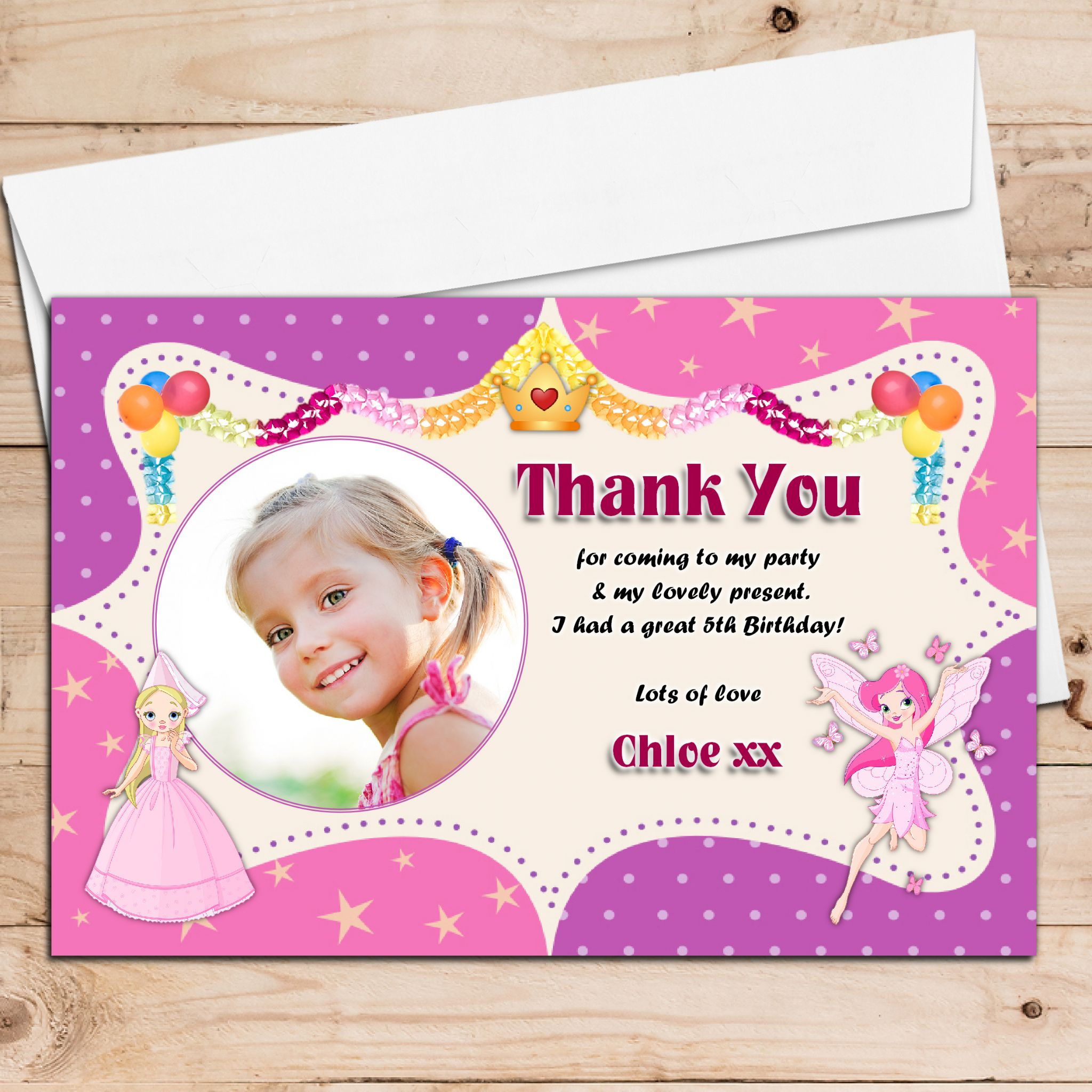 10 Personalised Girls Princess Fairies Birthday Thank you PHOTO – Personalised Birthday Thank You Cards
