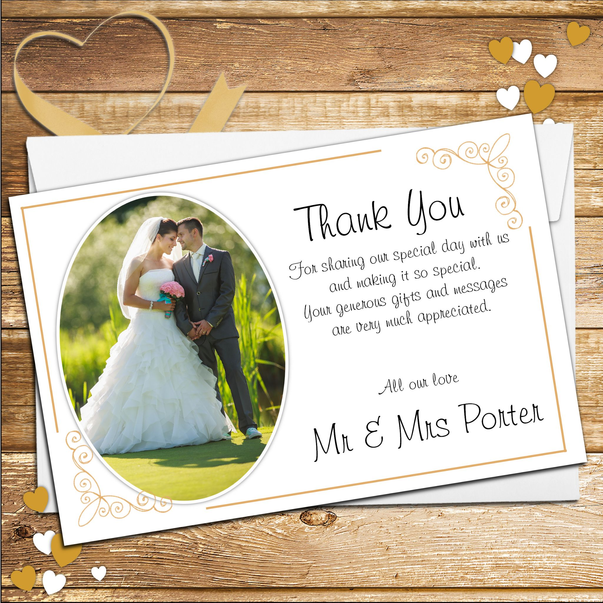 10 Personalised Gold Frame Wedding Day Thank You Photo Cards