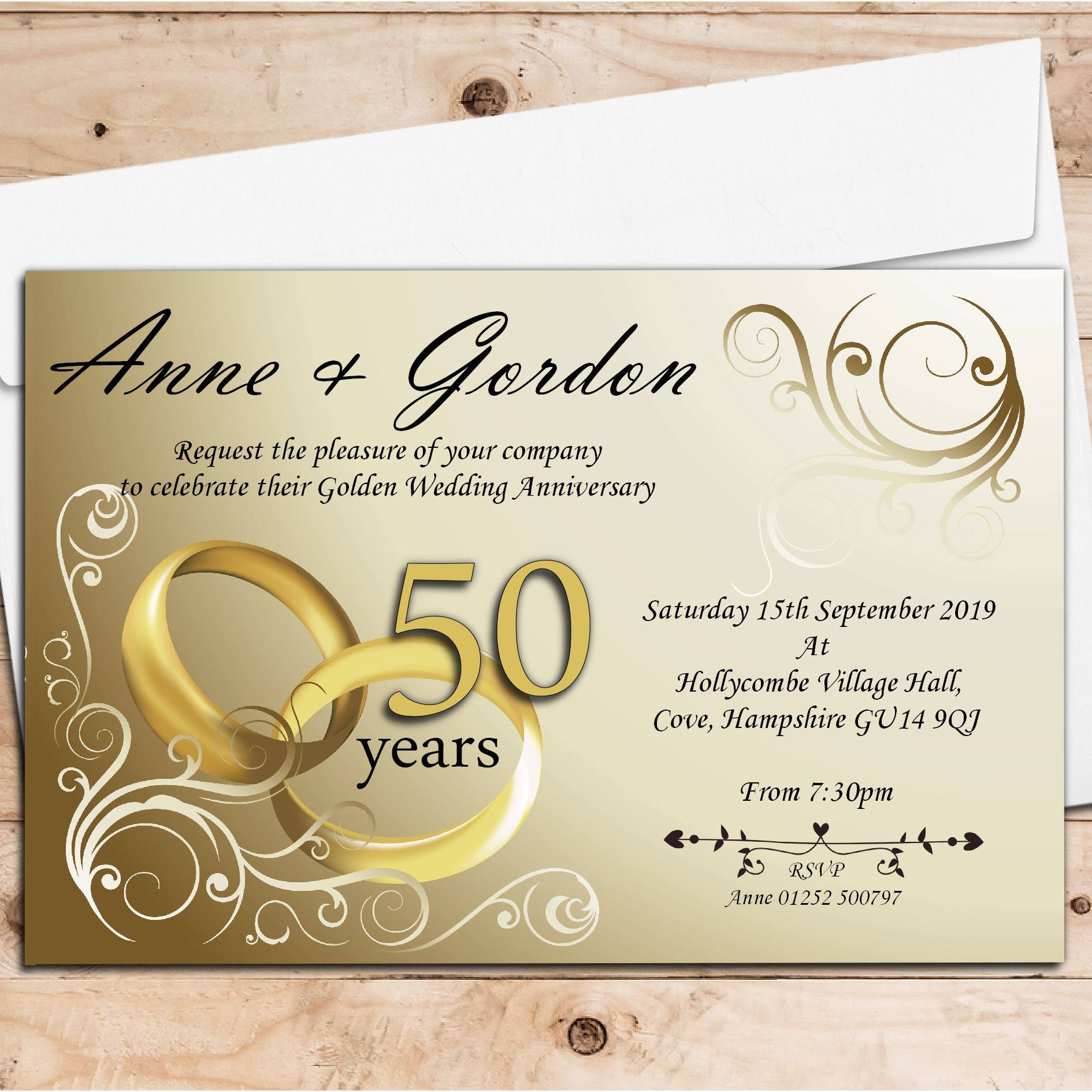 Golden Wedding Anniversary Invitations Wording: 10 Personalised Gold Rings 50th Golden Wedding Anniversary