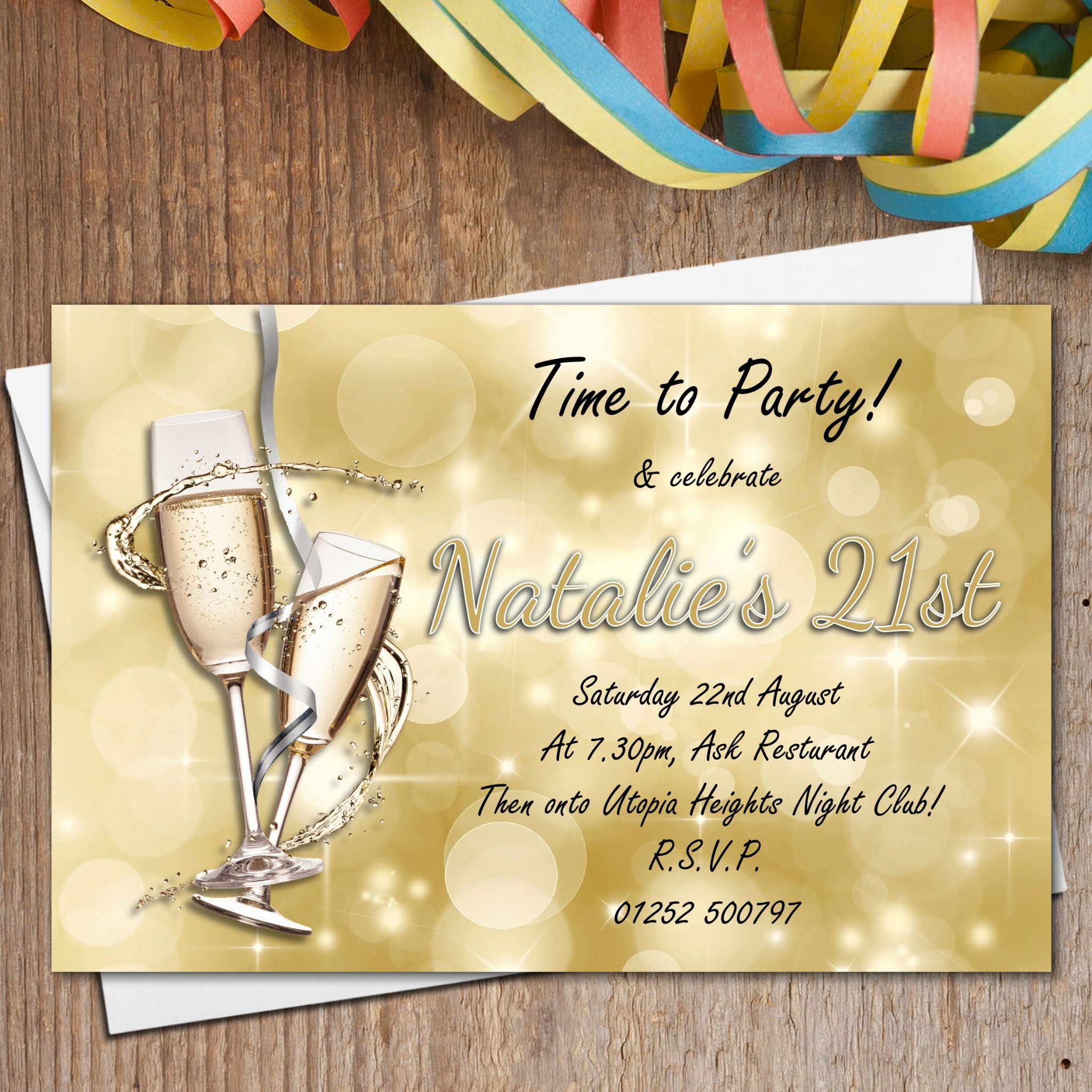 10 Personalised Gold Sparkle Champagne Birthday Party Invitations N182 – Personalised 21st Birthday Invitations
