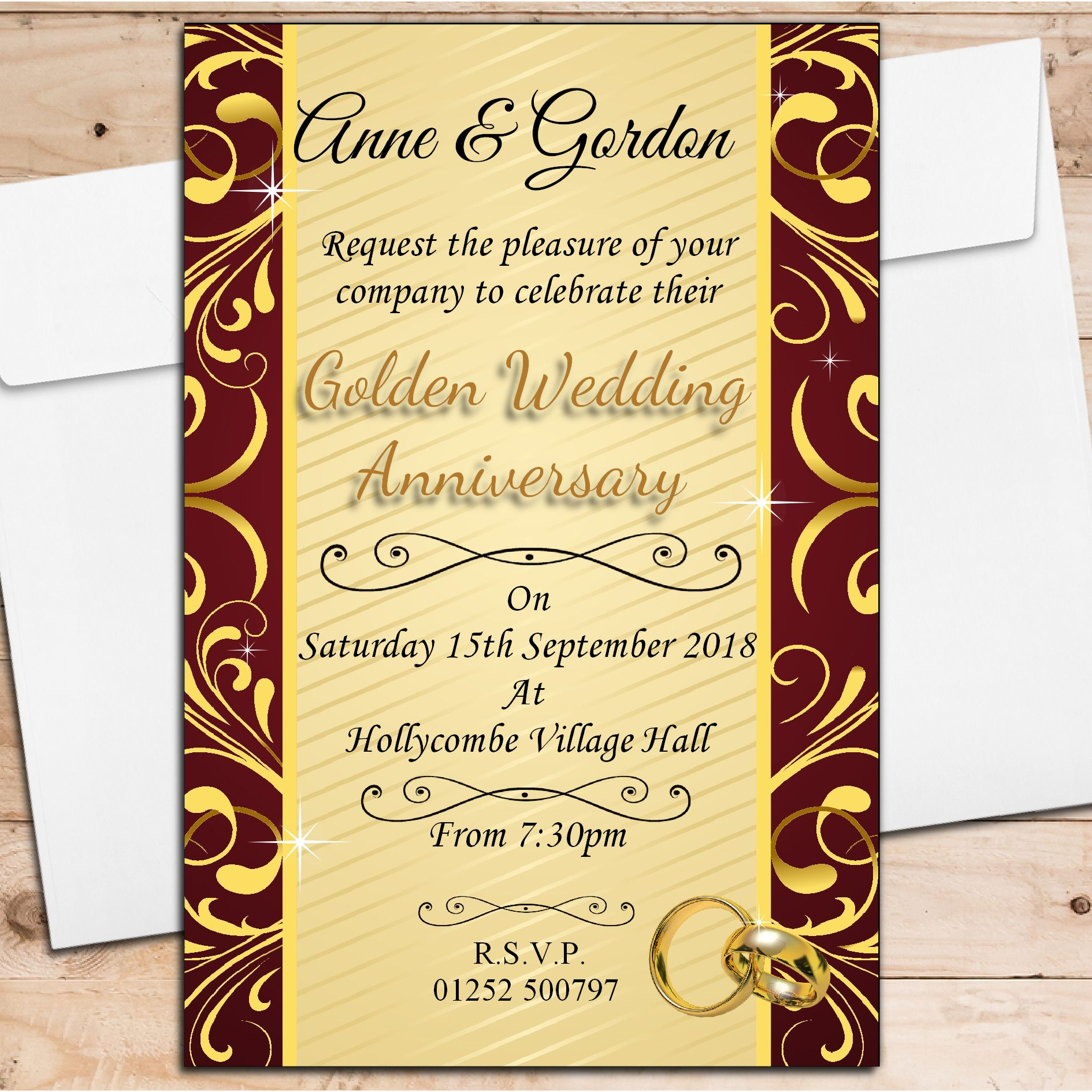 10 personalised golden 50th wedding anniversary invitations n5 stopboris Gallery