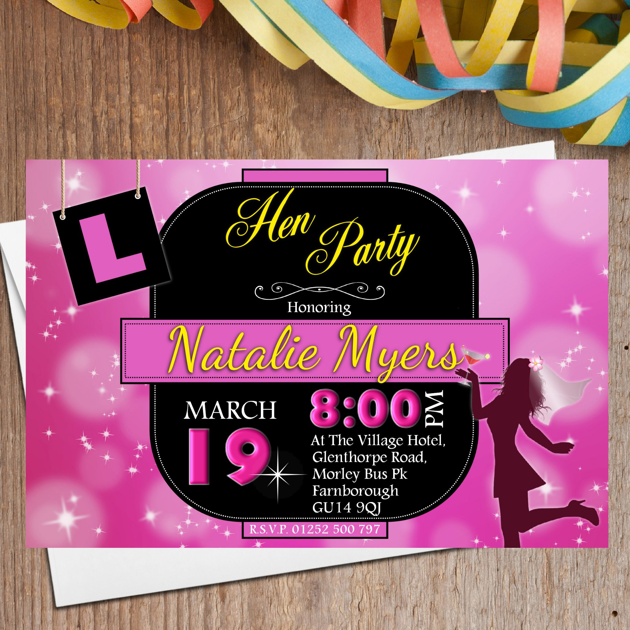 10 Personalised Hen Night Party Invitations Invites N23