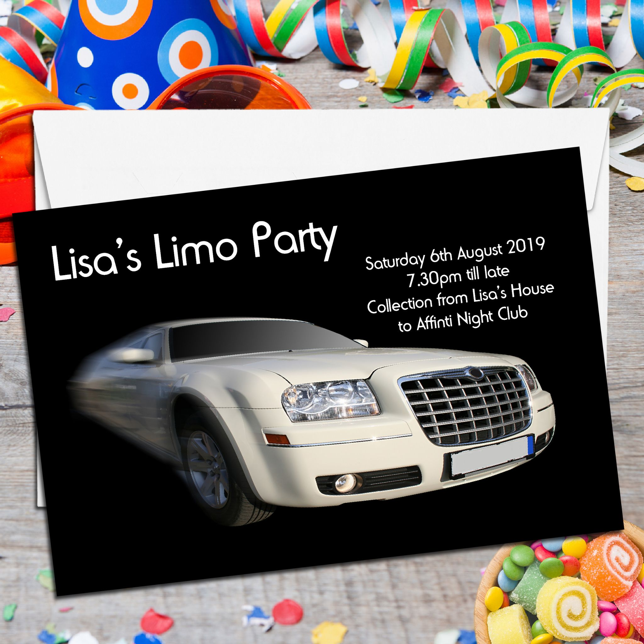10 Personalised Hen Stag Birthday Limo Party Invitations