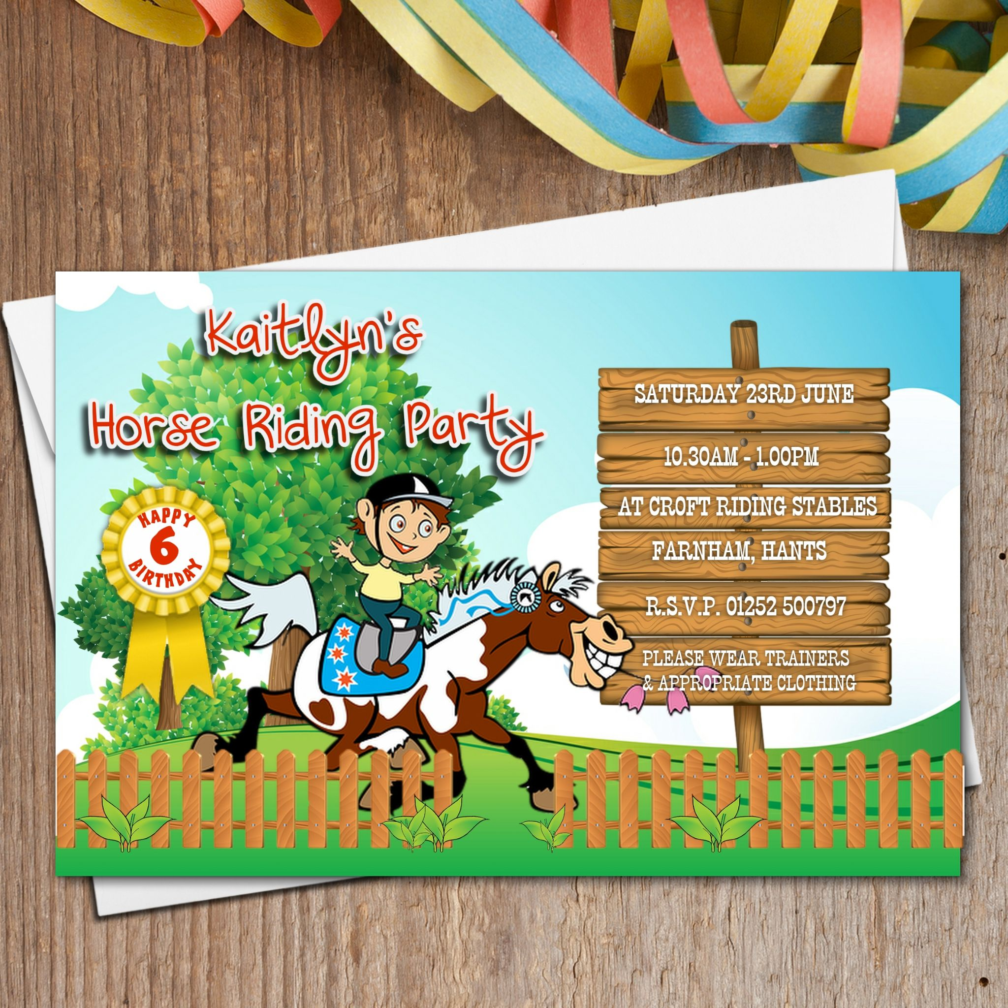 10 Personalised Horse Pony Riding Birthday Party Invitations N161