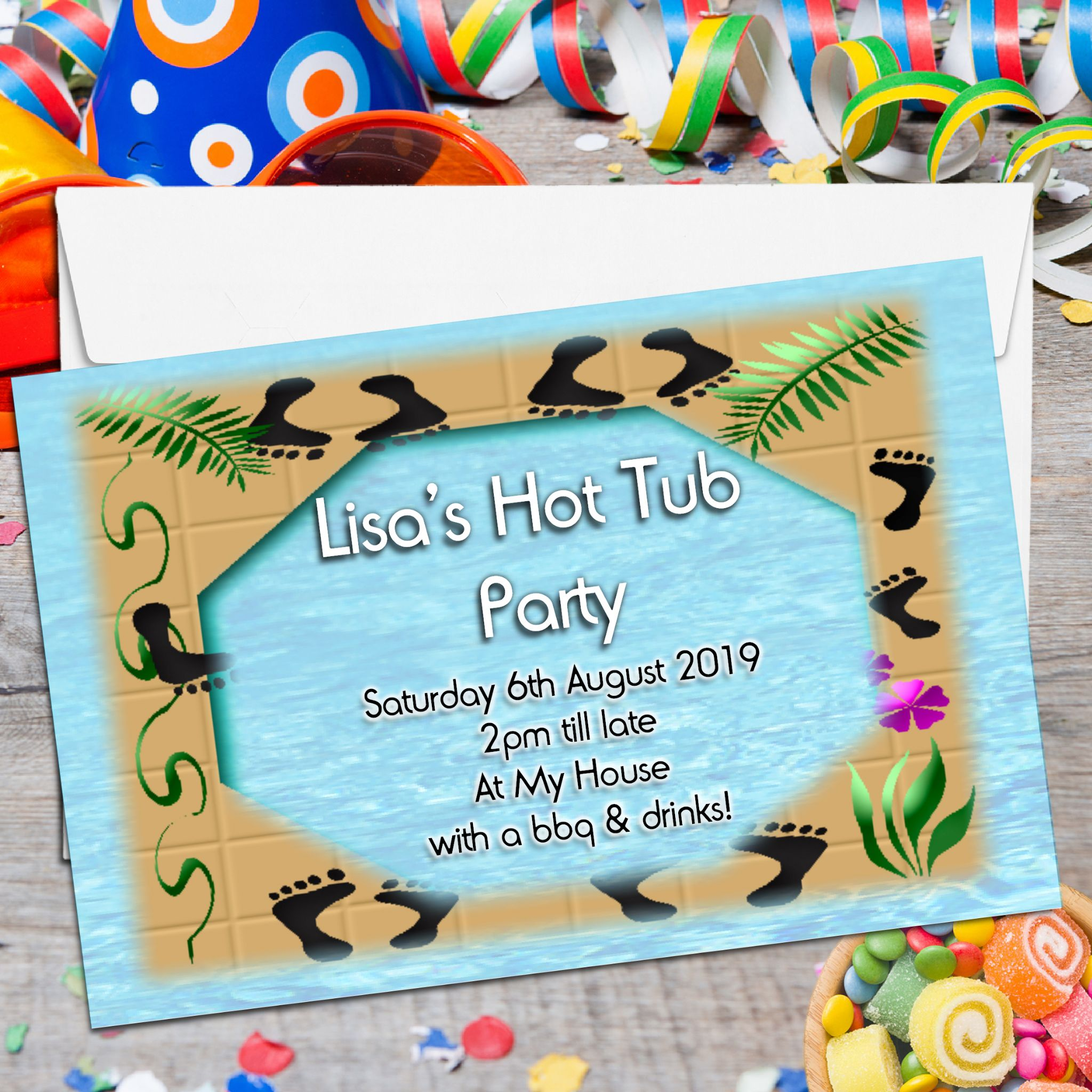 10 Personalised Hot Tub Pool Party Invitations – Personalised Party Invites
